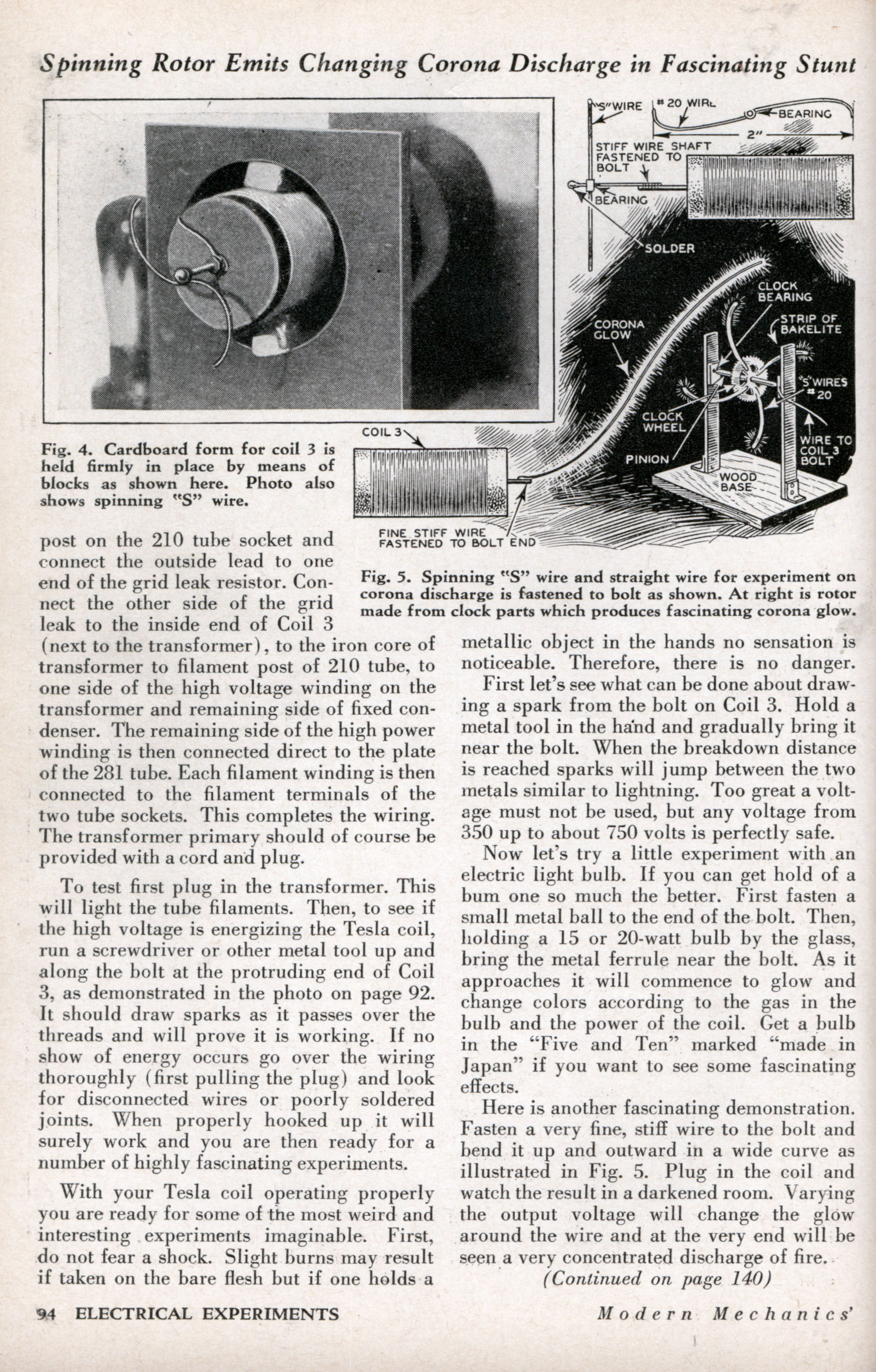 Vacuum Tube Tesla Coil Does Fascinating Stunts | Modern Mechanix ...
