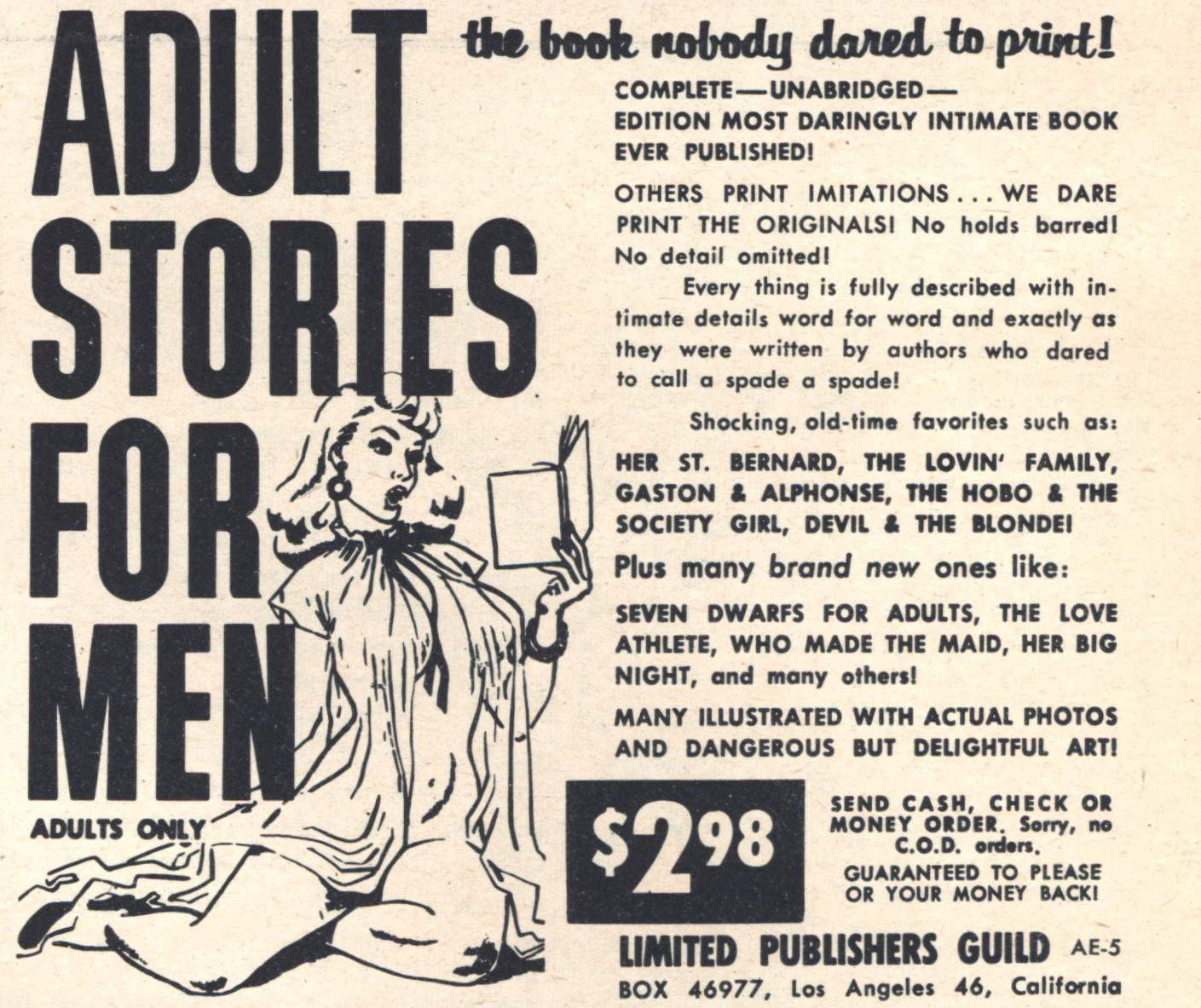 ADULT STORIES FOR MEN. the book nobody dared to print!