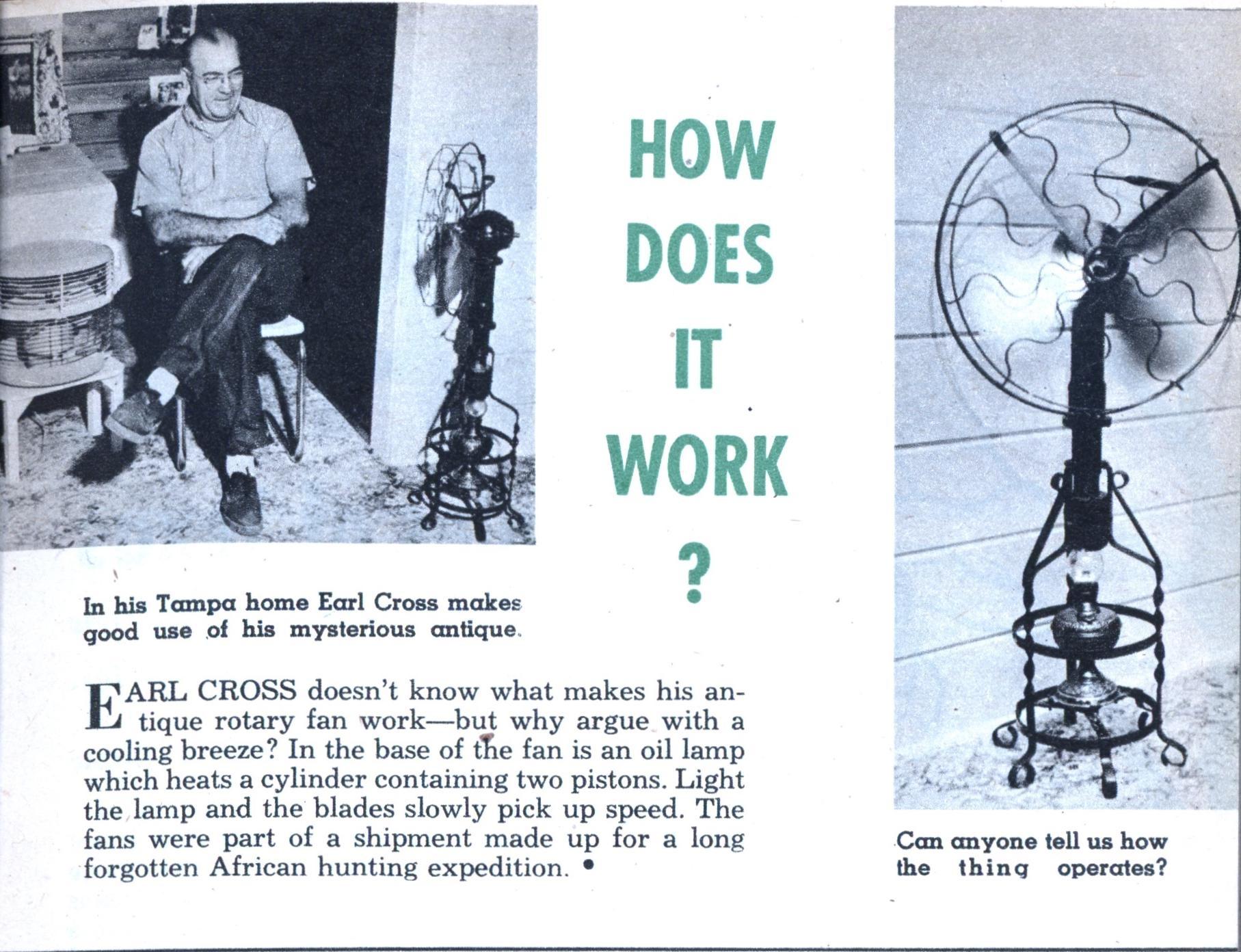 How Does It Work Oil Lamp Fan Modern Mechanix Nov 1956