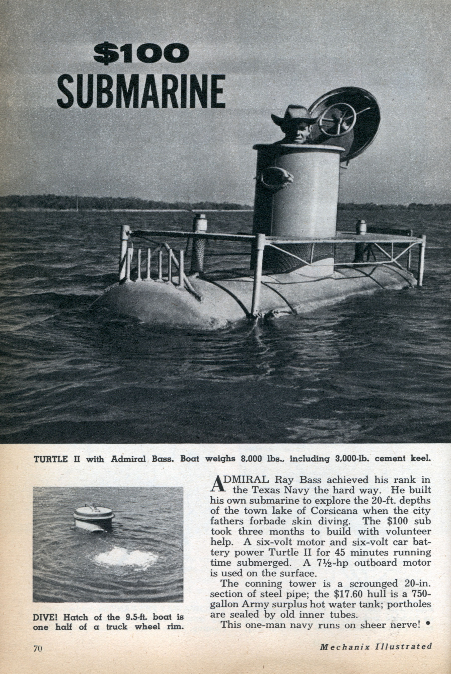 $100 SUBMARINE | Modern Mechanix on gunboat plans, homemade rvs from bus, homemade backhoe, duck boat plans, homemade duck boat blinds, type xxi u-boat plans, moonshine still plans, homemade tank, homemade swimming ponds, homemade boat windshield, homemade campers, periscope plans,