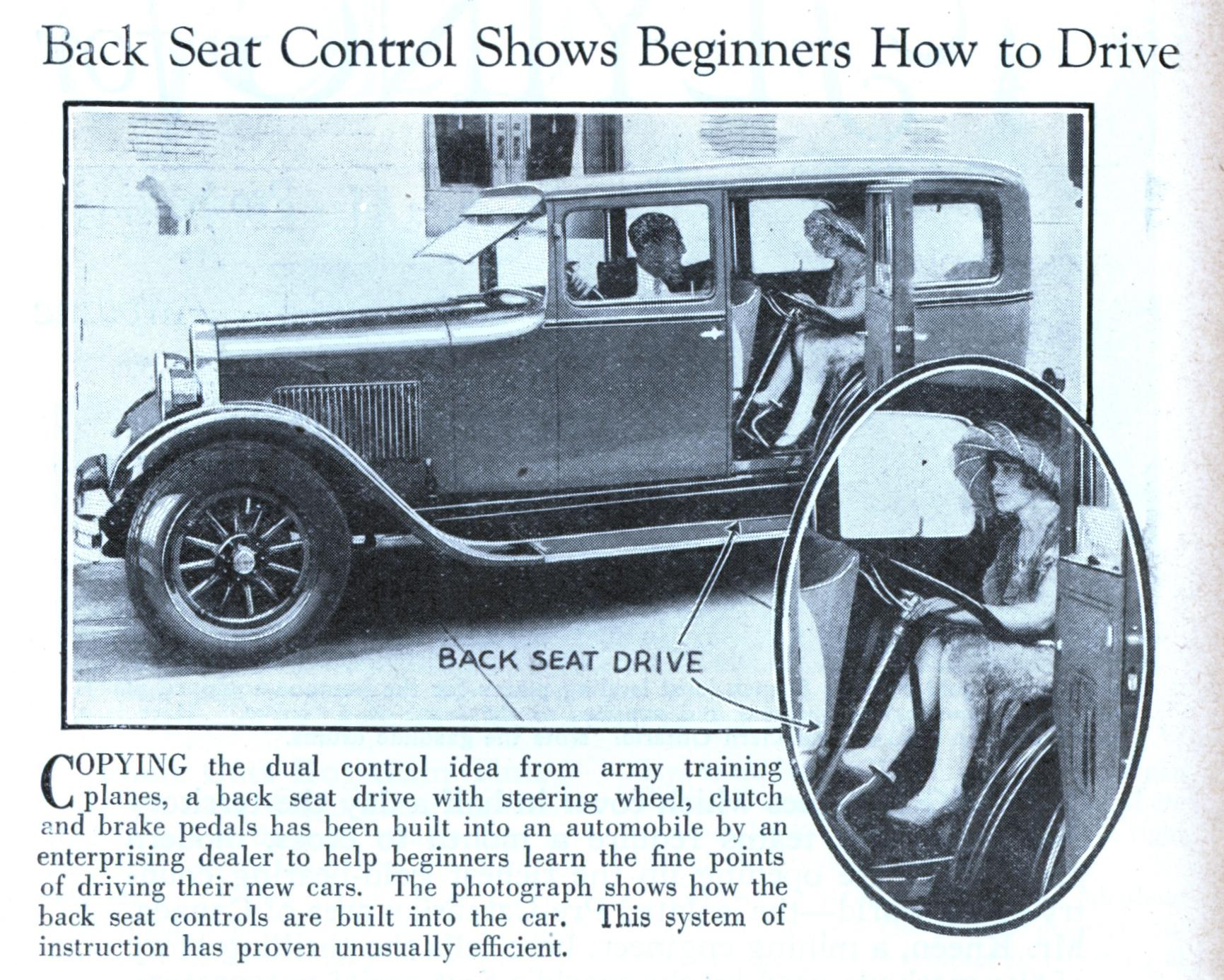back seat control shows beginners how to drive modern mechanix. Black Bedroom Furniture Sets. Home Design Ideas