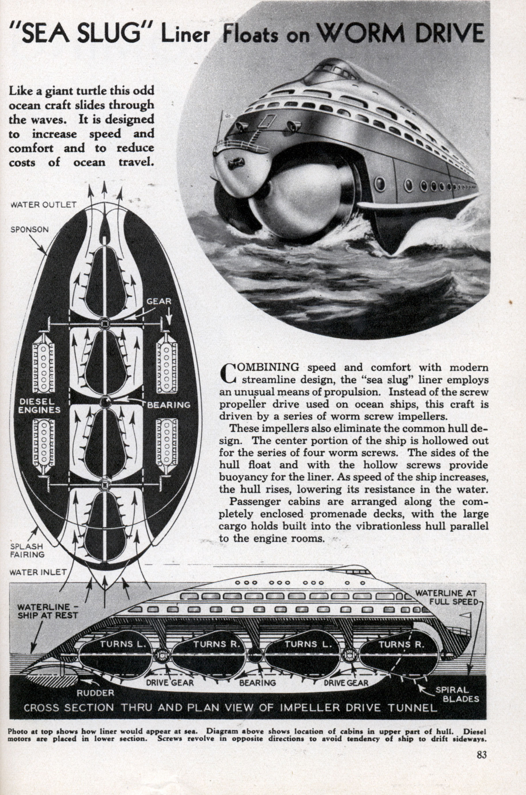 "SEA SLUG"" Liner Floats on WORM DRIVE | Modern Mechanix"
