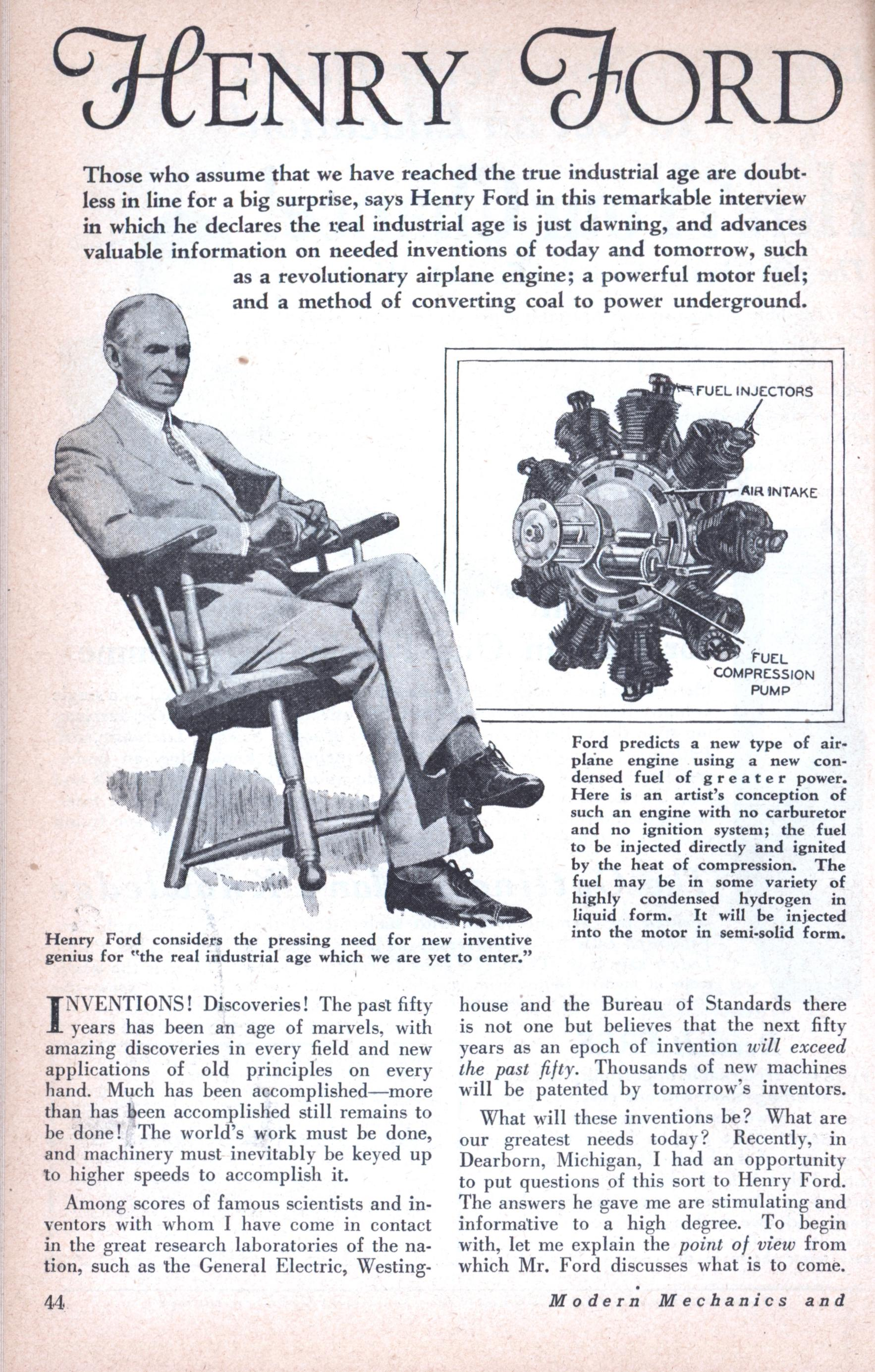 HENRY FORD TELLS WHAT To INVENT ~ Modern Mechanix What To Invent  Henry Ford Tells What To Invent