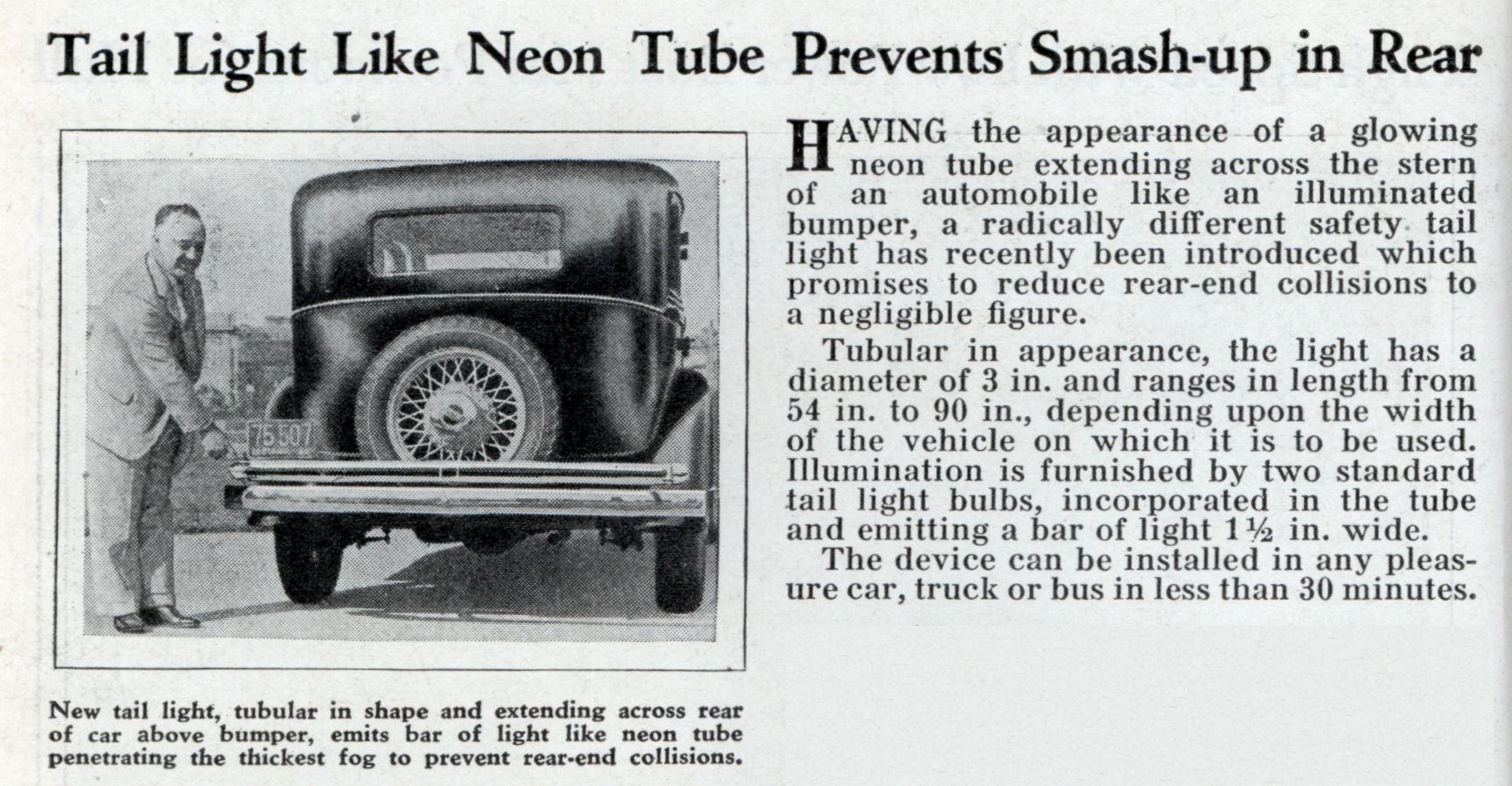 Tail Light Like Neon Tube