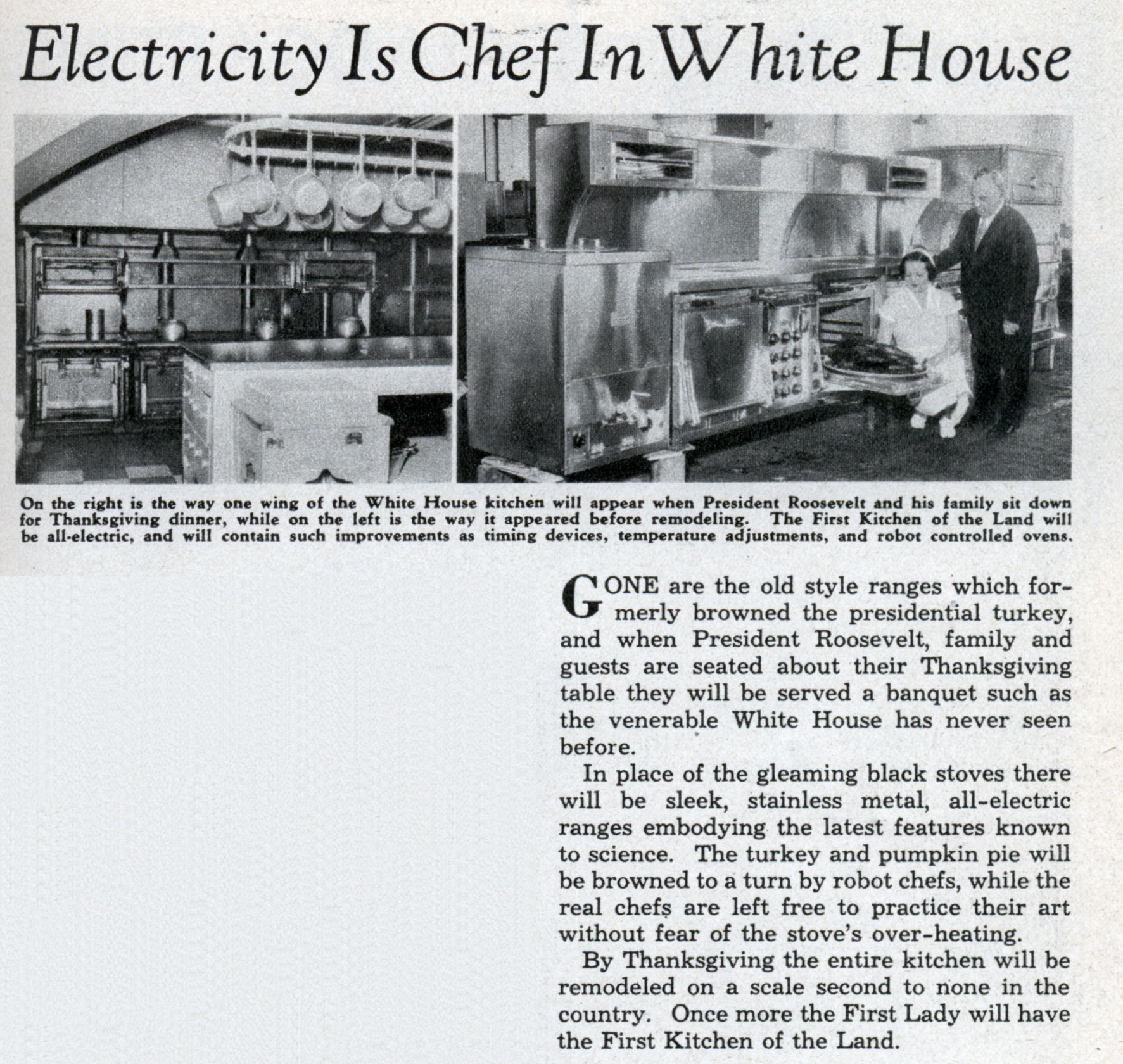 electricity is chef in white house | modern mechanix