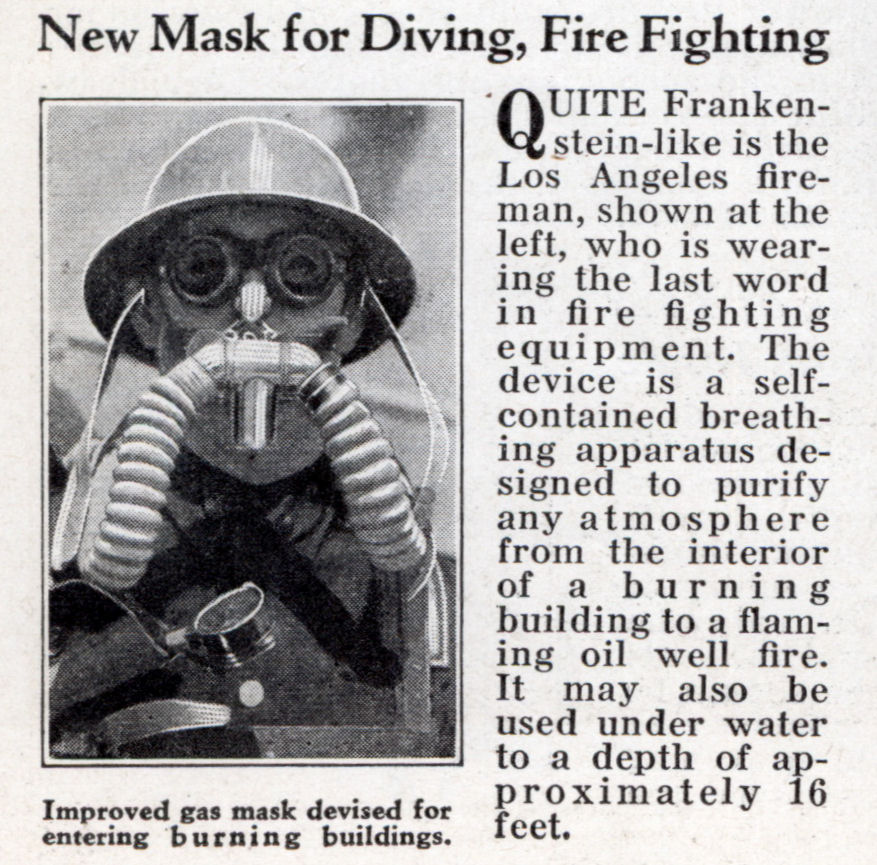New Mask for Diving, Fire Fighting | Modern Mechanix