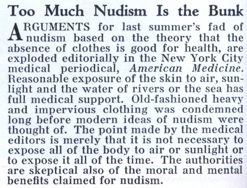 Too Much Nudism Is the Bunk (Feb, 1933)