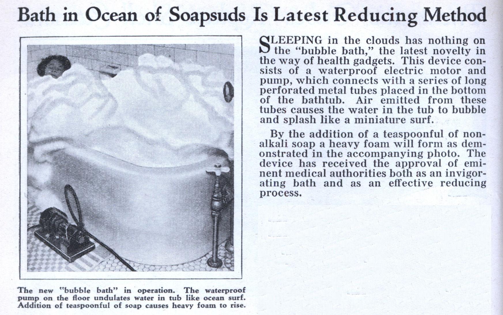 Bath in Ocean of Soapsuds Is Latest Reducing Method | Modern Mechanix