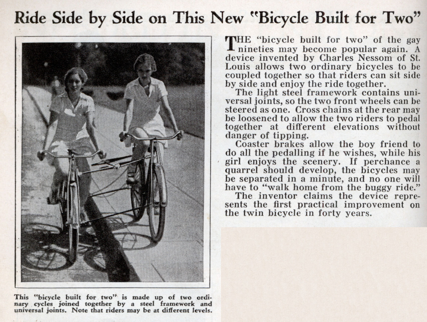 "Ride Side by Side on This New ""Bicycle Built for Two"" 