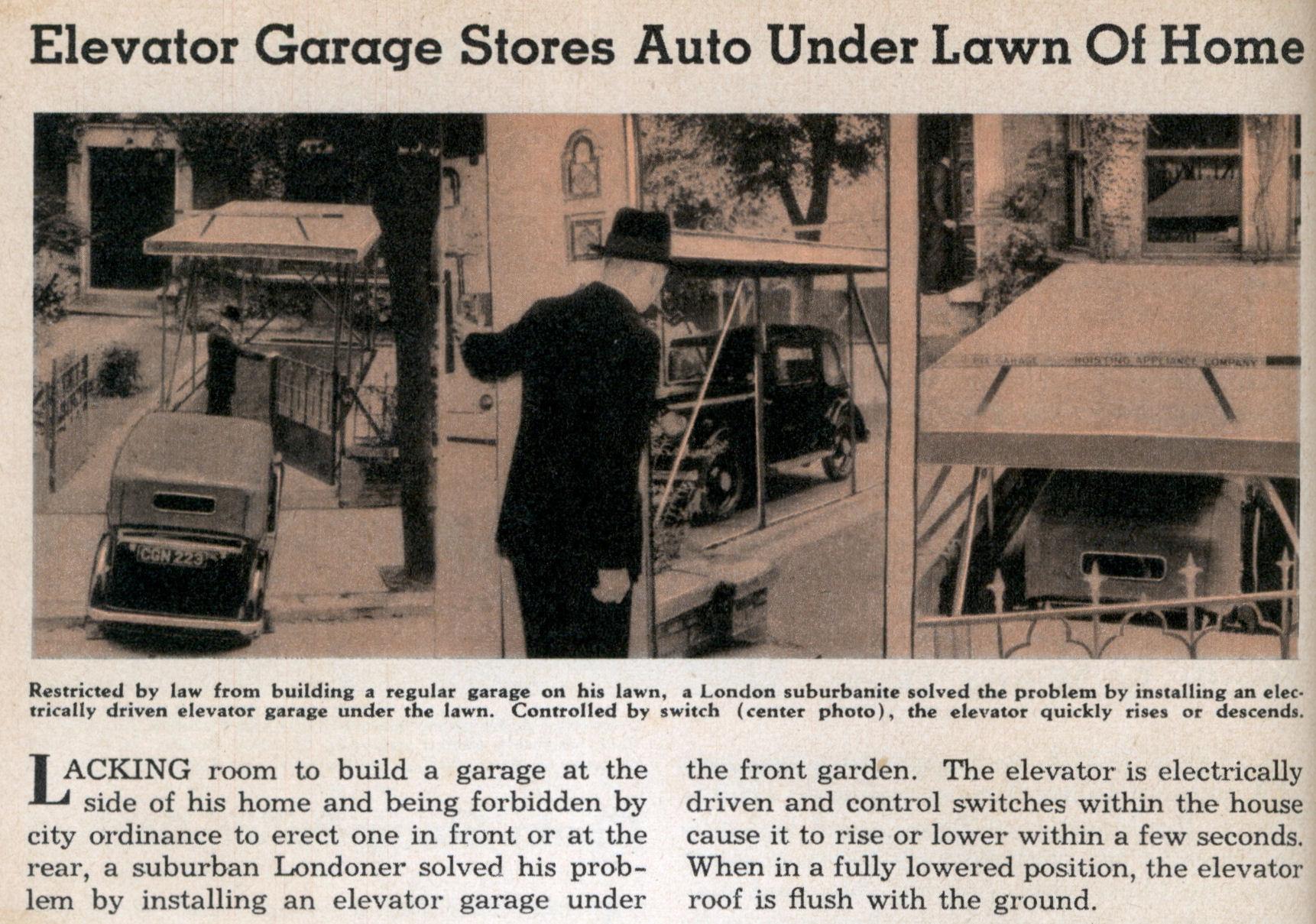 Elevator Garage Stores Auto Under Lawn Of Home Modern