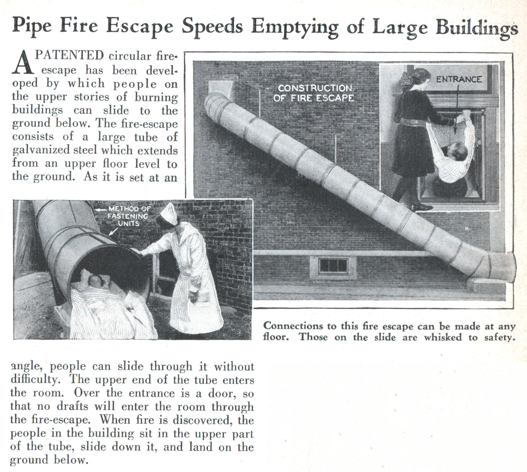 Pipe Fire Escape Speeds Emptying Of Large Buildings
