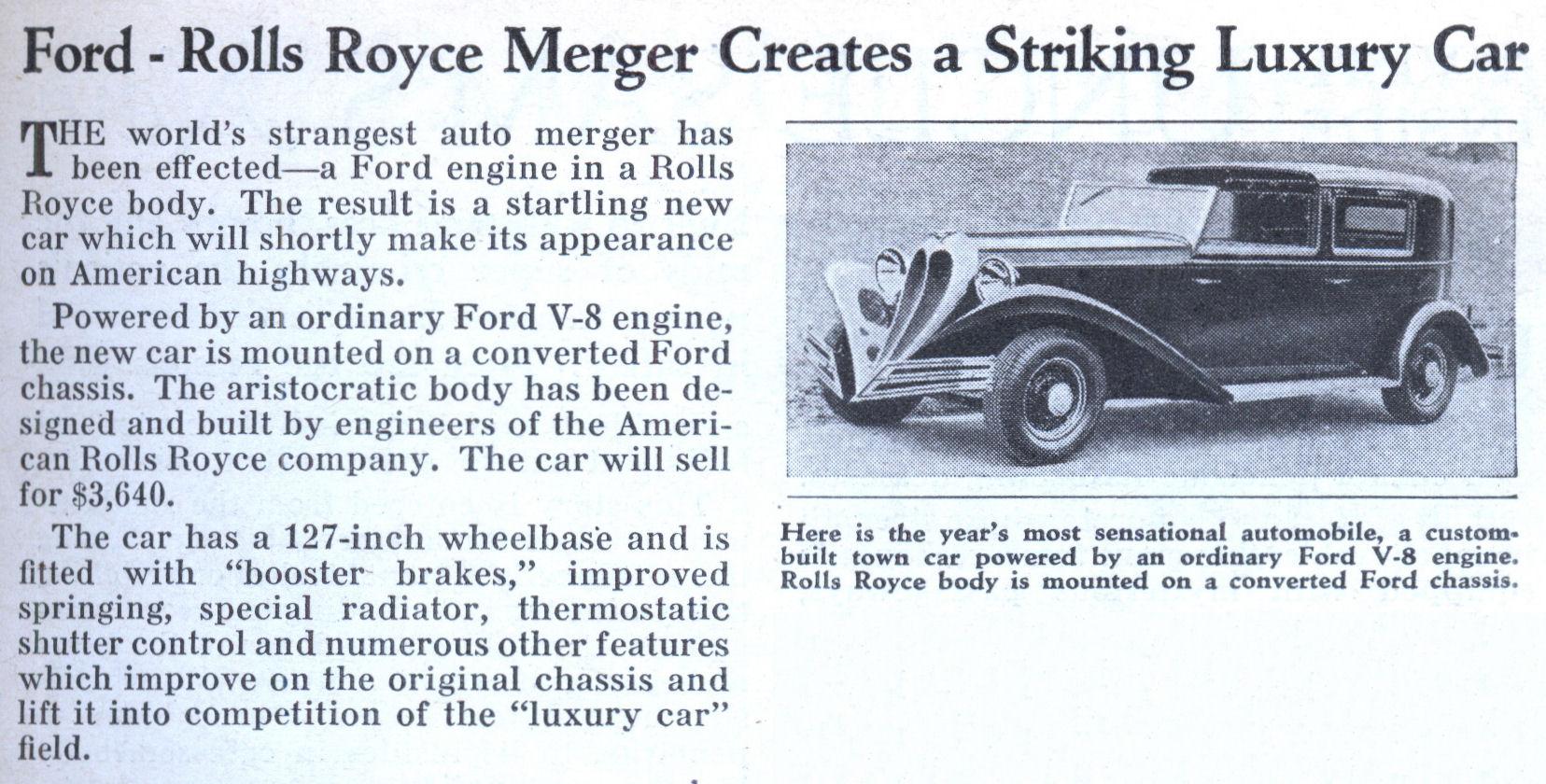 Ford Rolls Royce Merger
