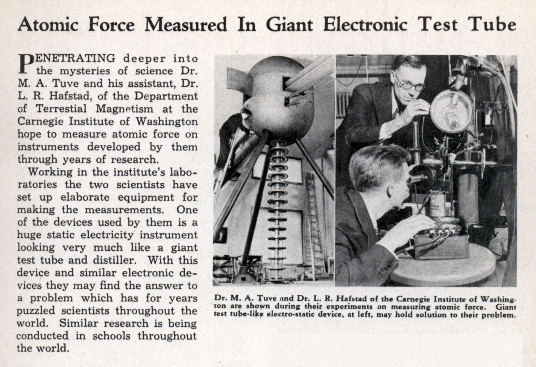 Atomic Force Measured In Giant Electronic Test Tube Jun 1936