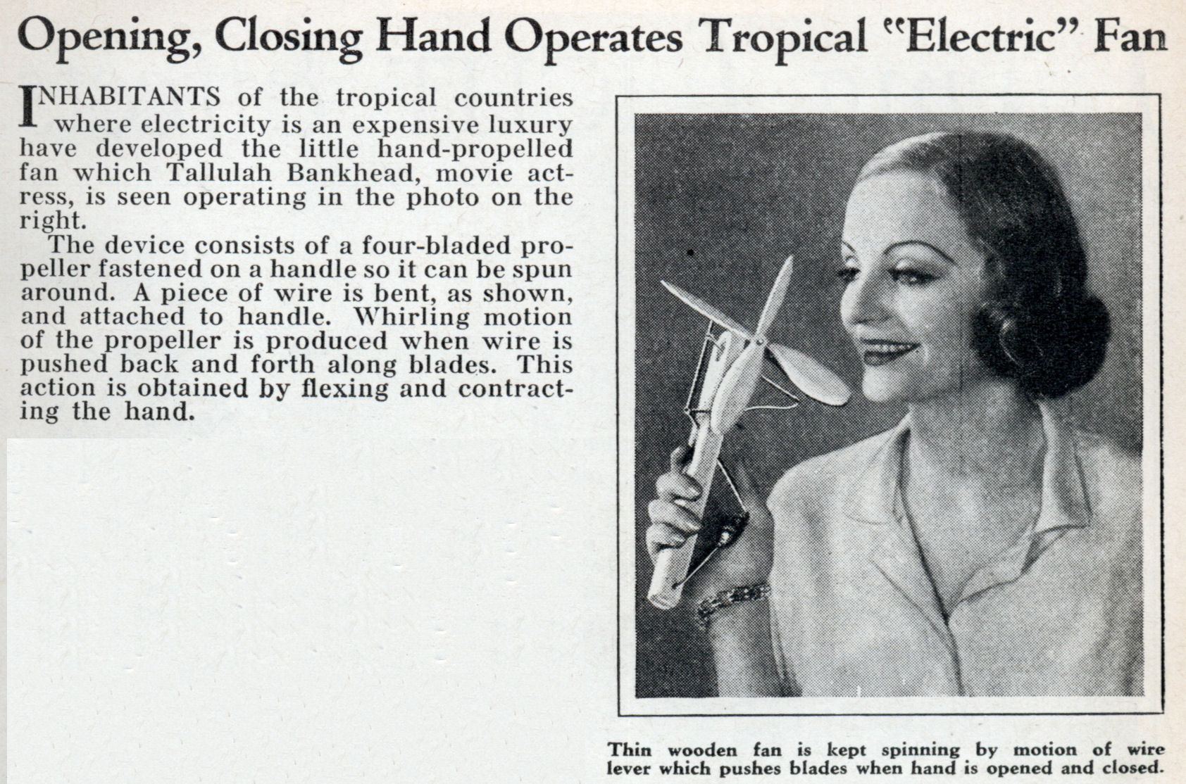 Opening Closing Hand Operates Tropical Electric Fan