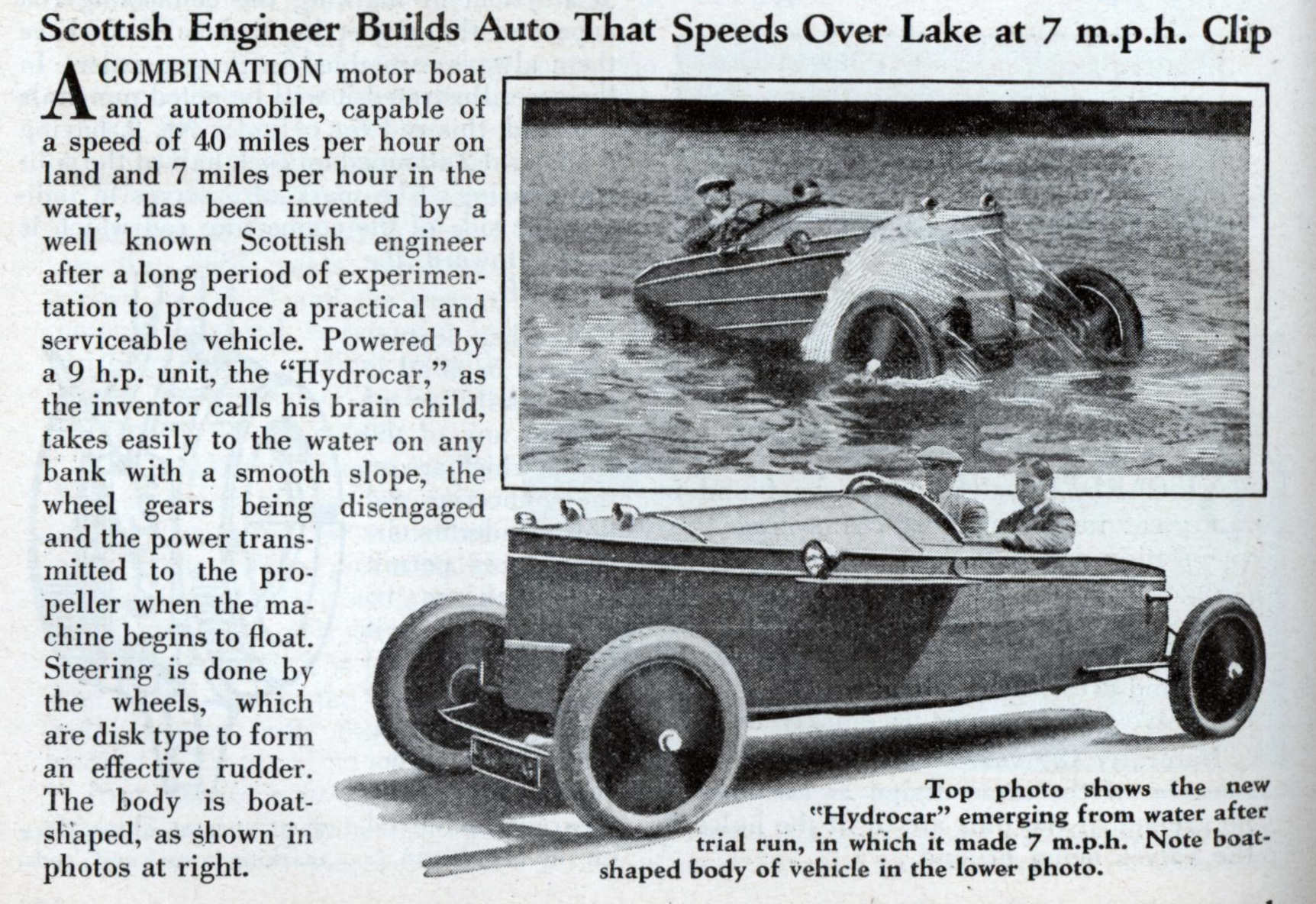 Scottish Engineer Builds Auto That Speeds Over Lake at 7 m.p.h. Clip ...
