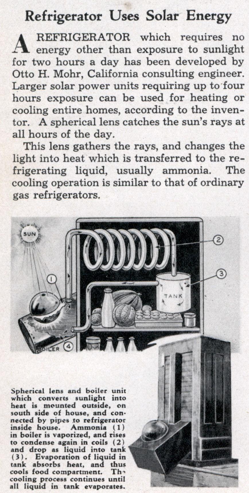Refrigerator Energy Refrigerator Uses Solar Energy