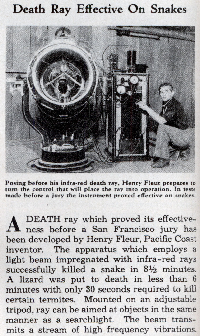 Death Ray Effective On Snakes Modern Mechanix