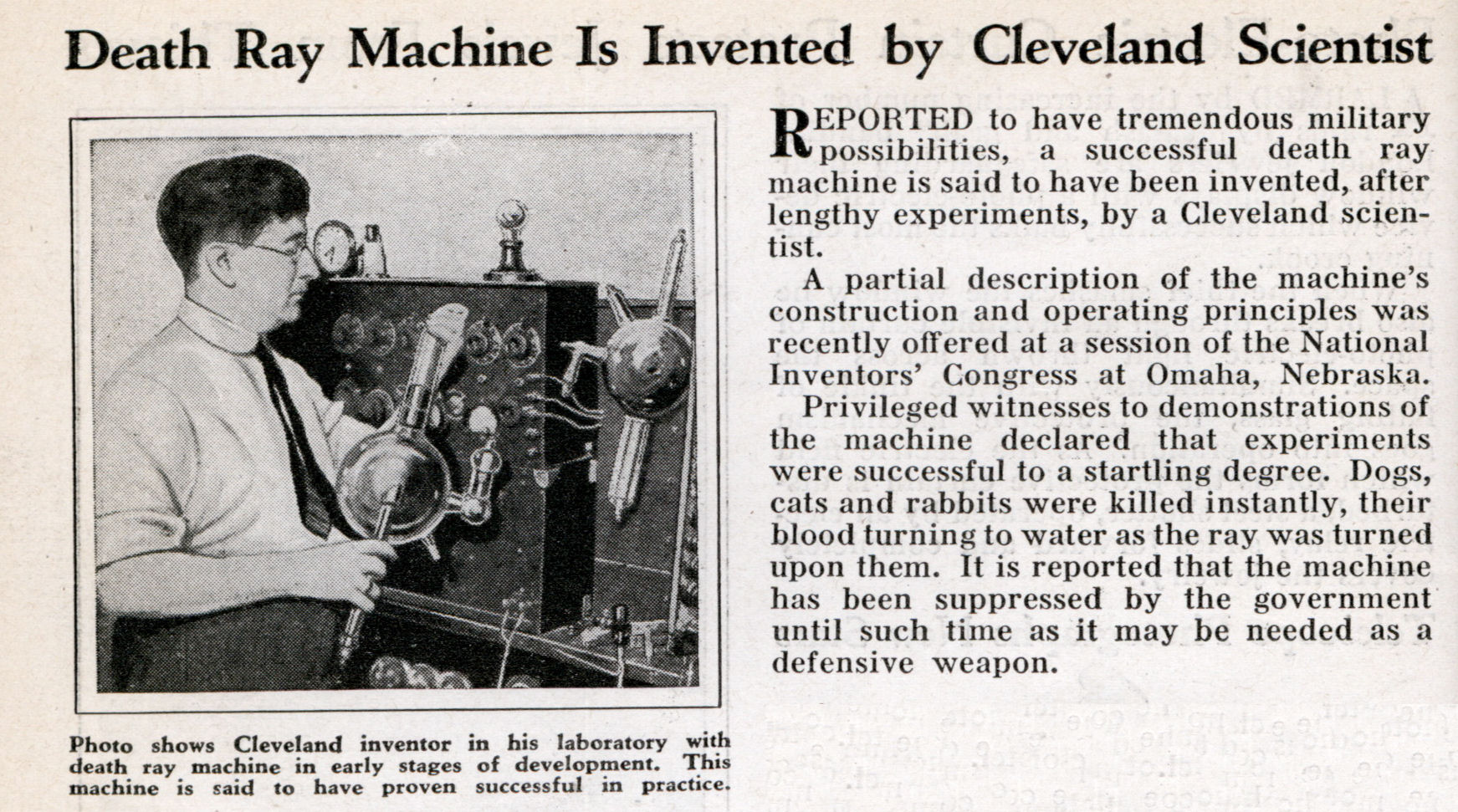 Tesla Death Ray Death ray machine is invented