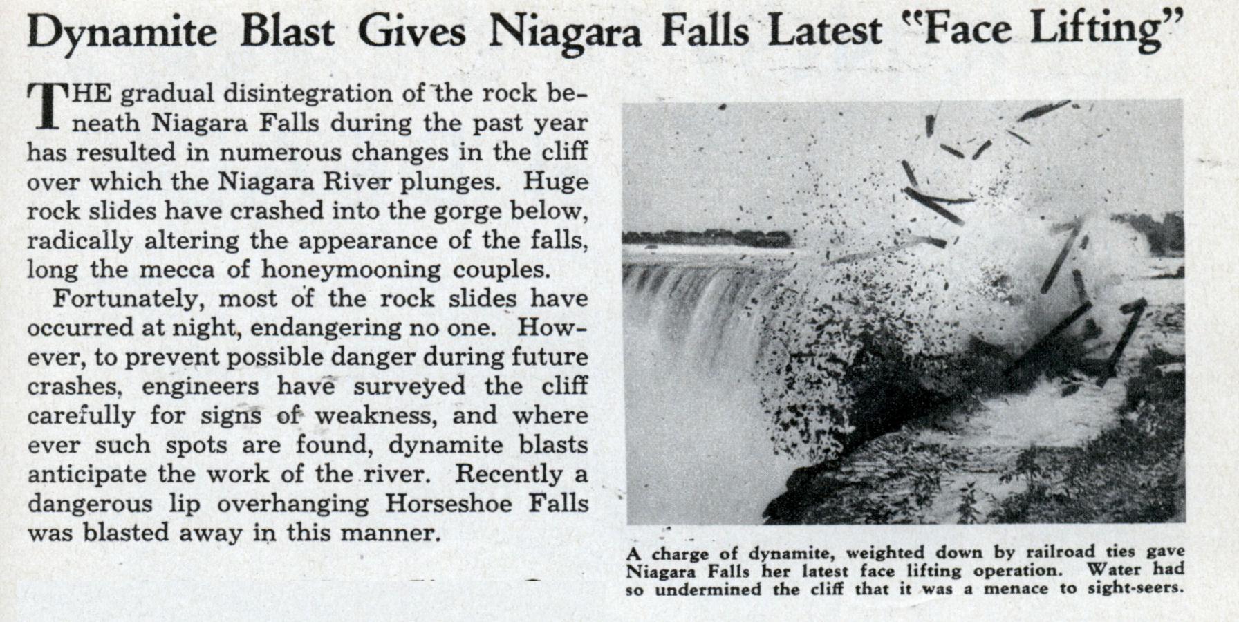 Dynamite Blast Gives Niagara Falls Latest Face Lifting