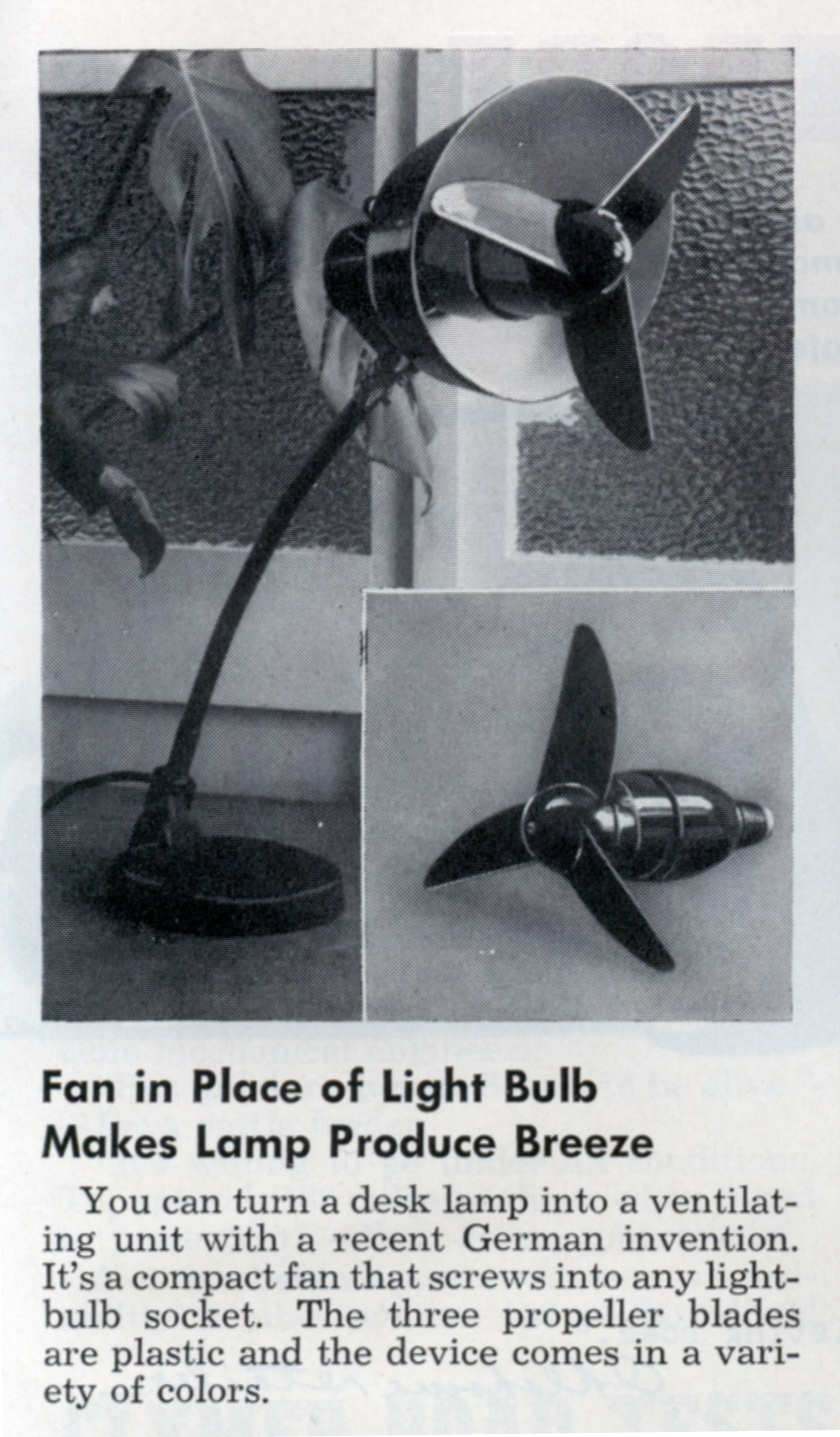 Fan In Place Of Light Bulb Makes Lamp