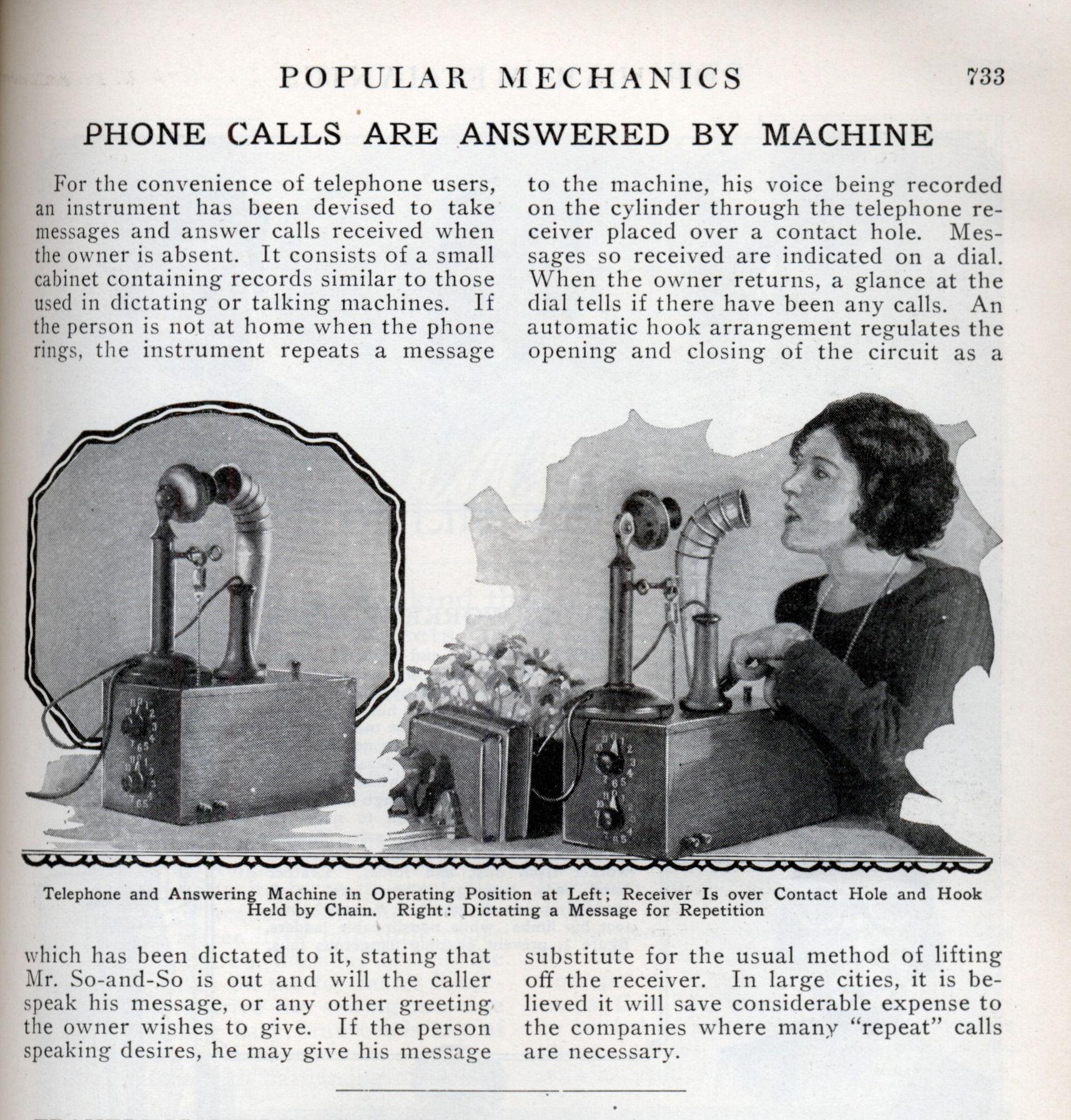 Phone Calls Are Answered By Machine Modern Mechanix