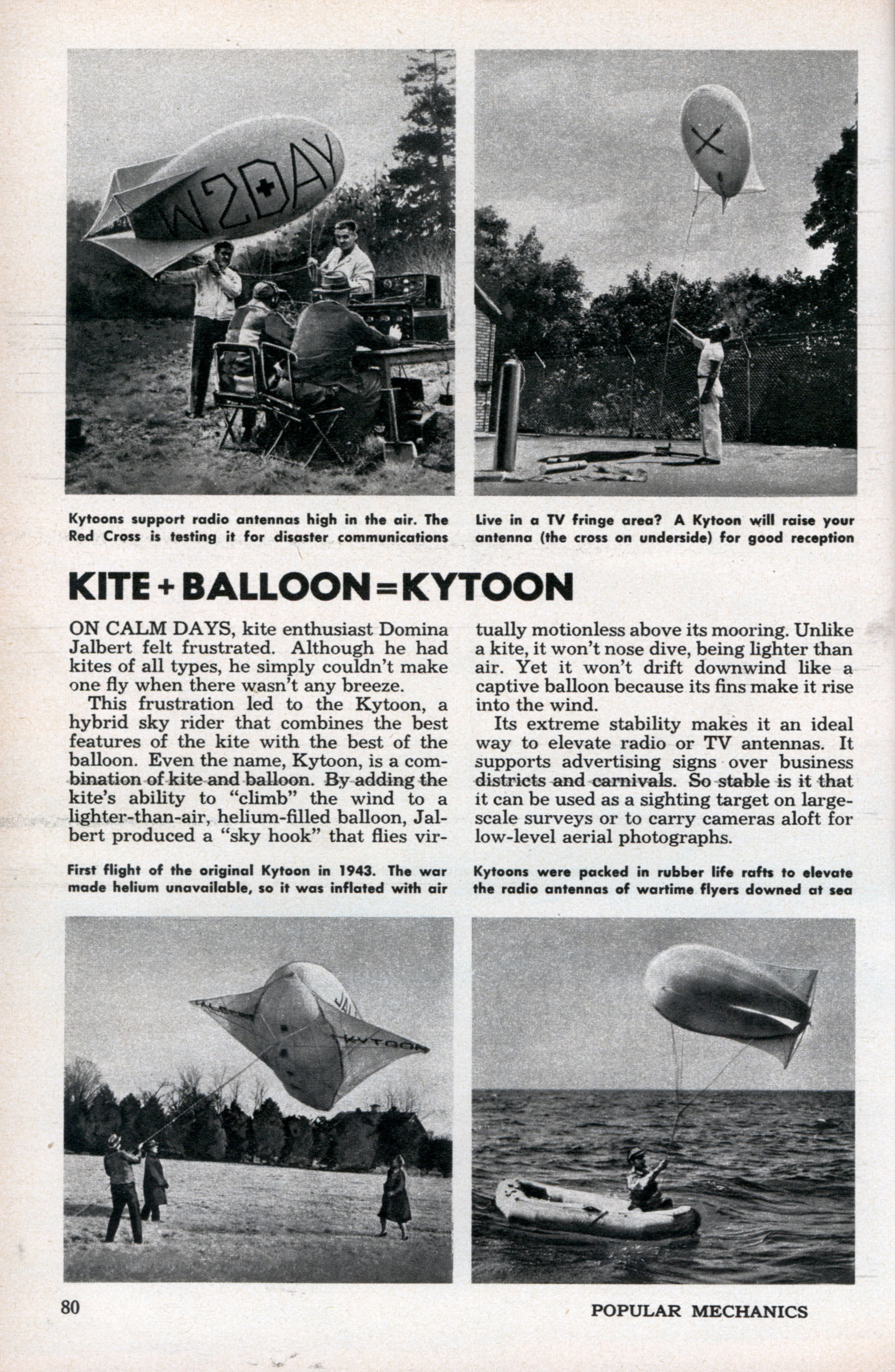 Domina Jalbert's Kite balloon for radio antennas