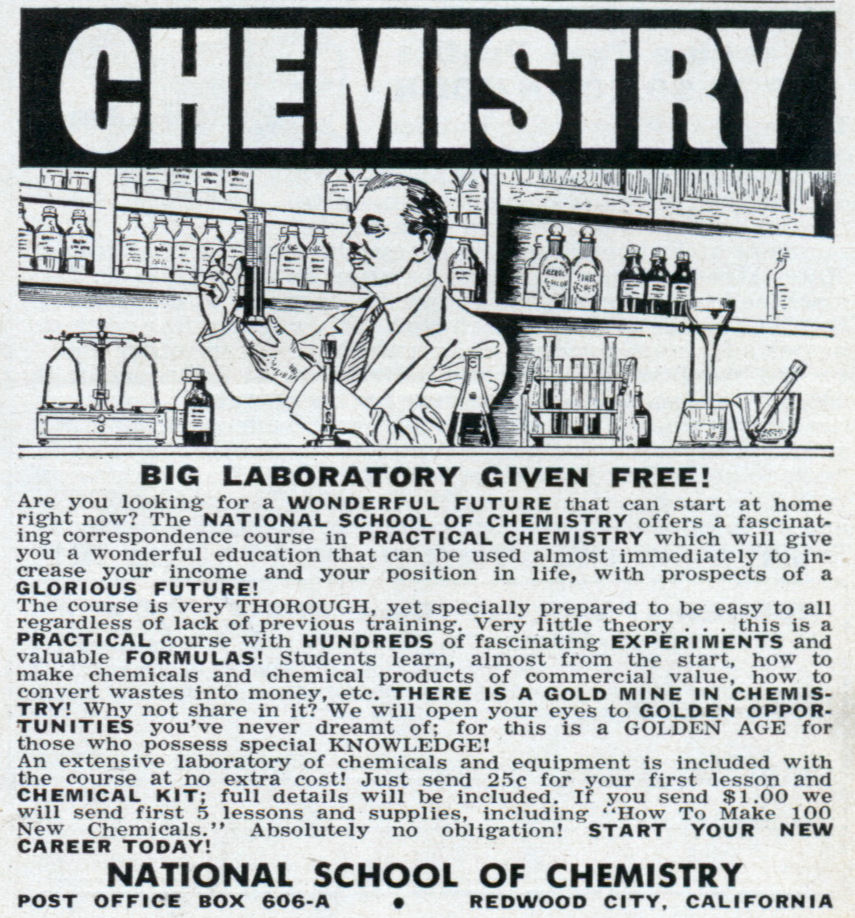 Chemistry – big laboratory given free sep 1955