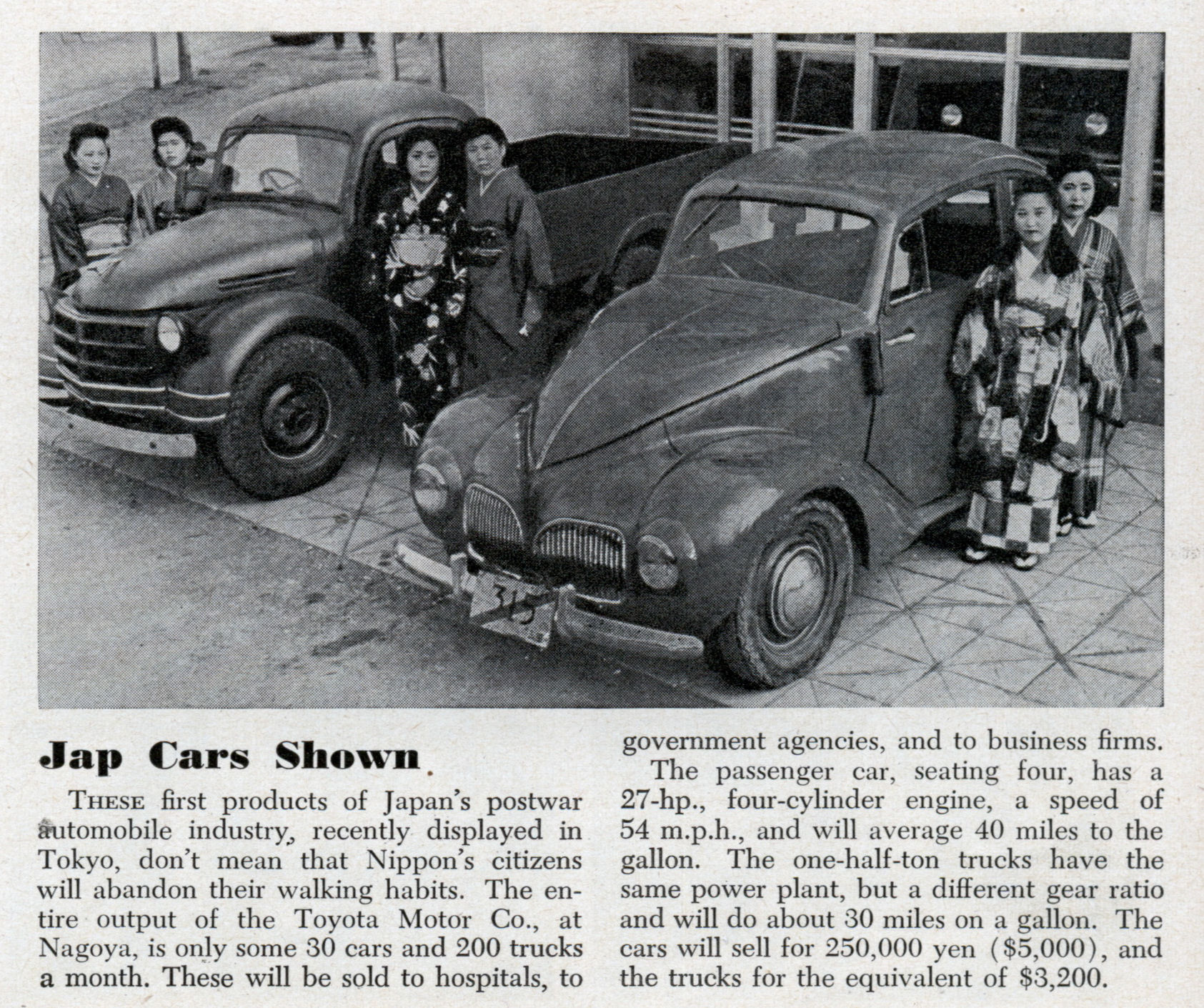 Jap Cars Shown (Very Early Toyotas) | Modern Mechanix
