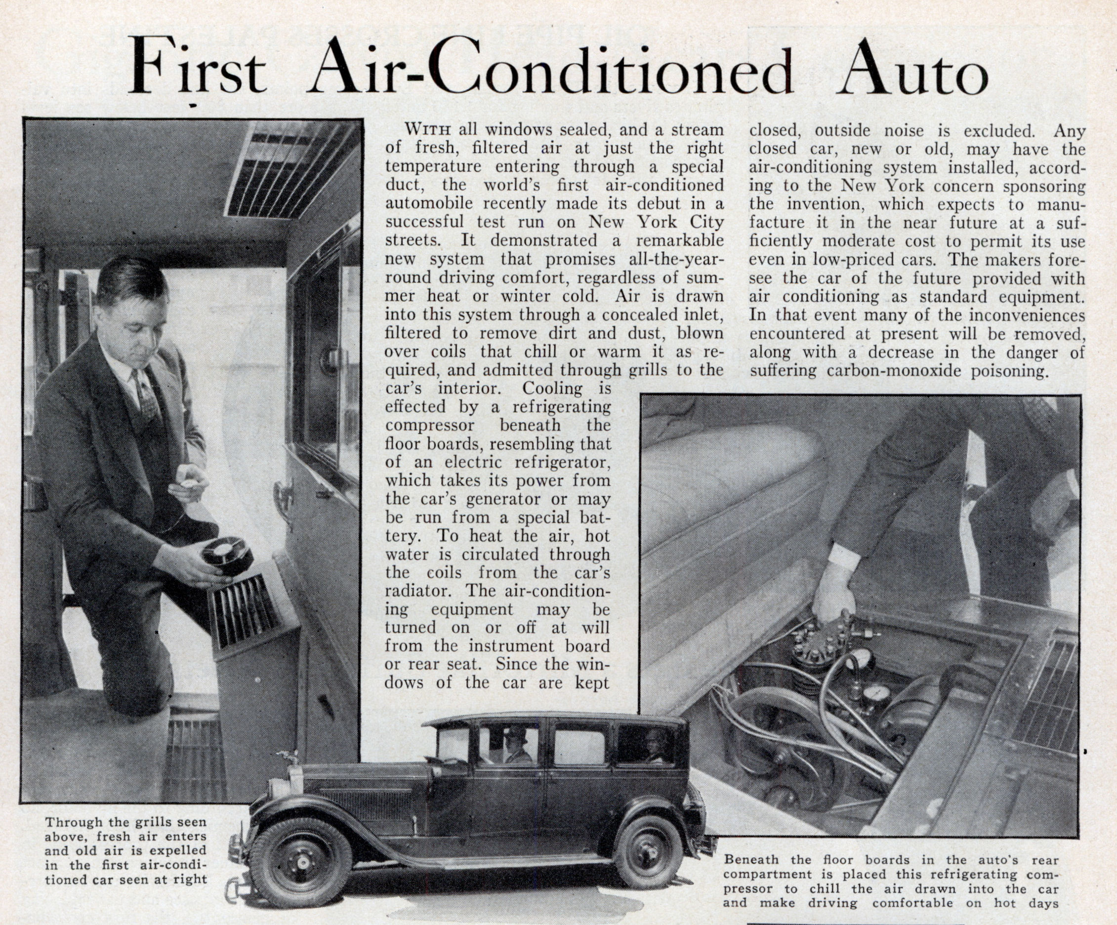 first air conditioner. first air-conditioned auto (nov, 1933) air conditioner i