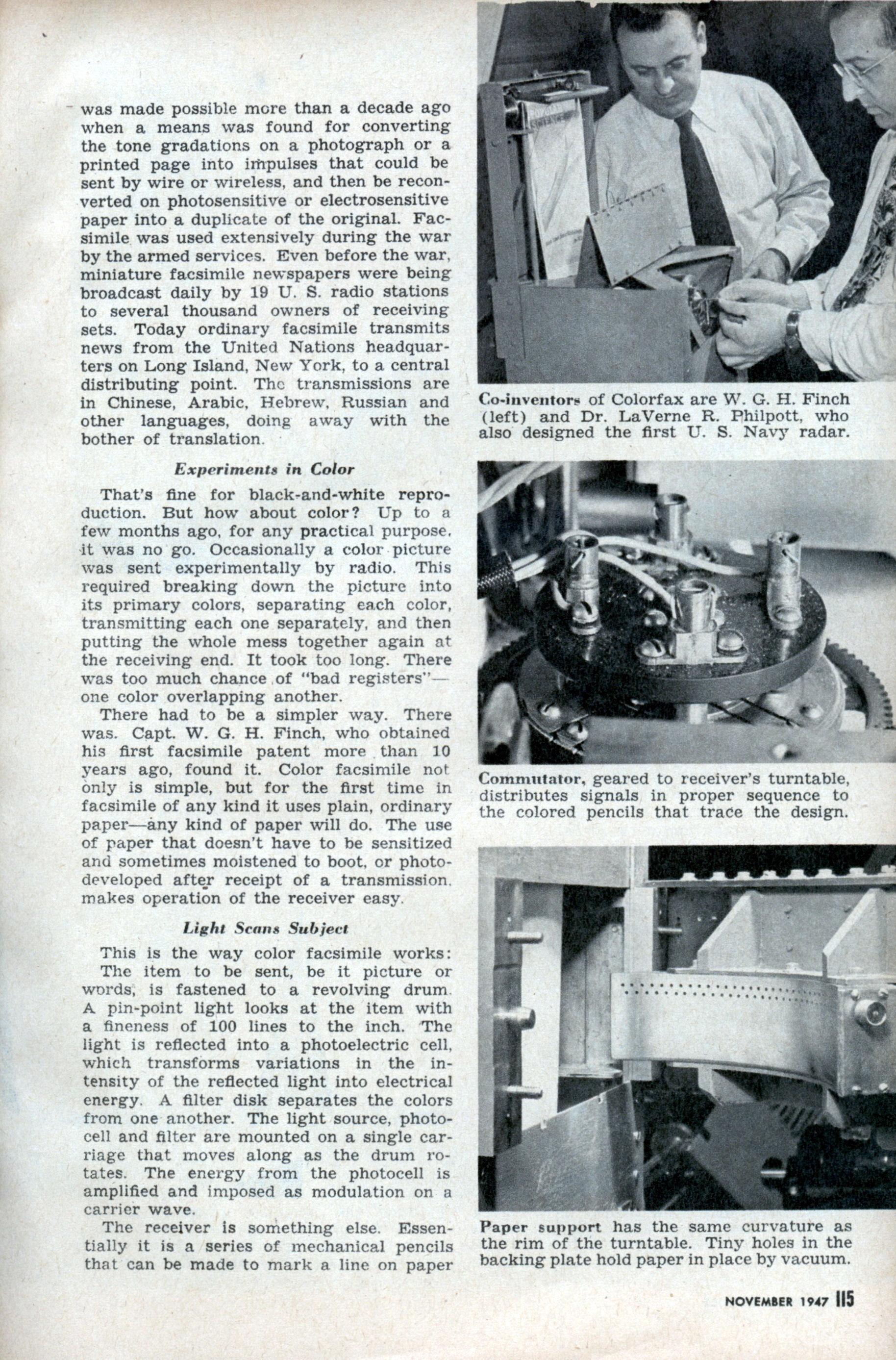 world s first color fax machine 1946 modern mechanix page 2