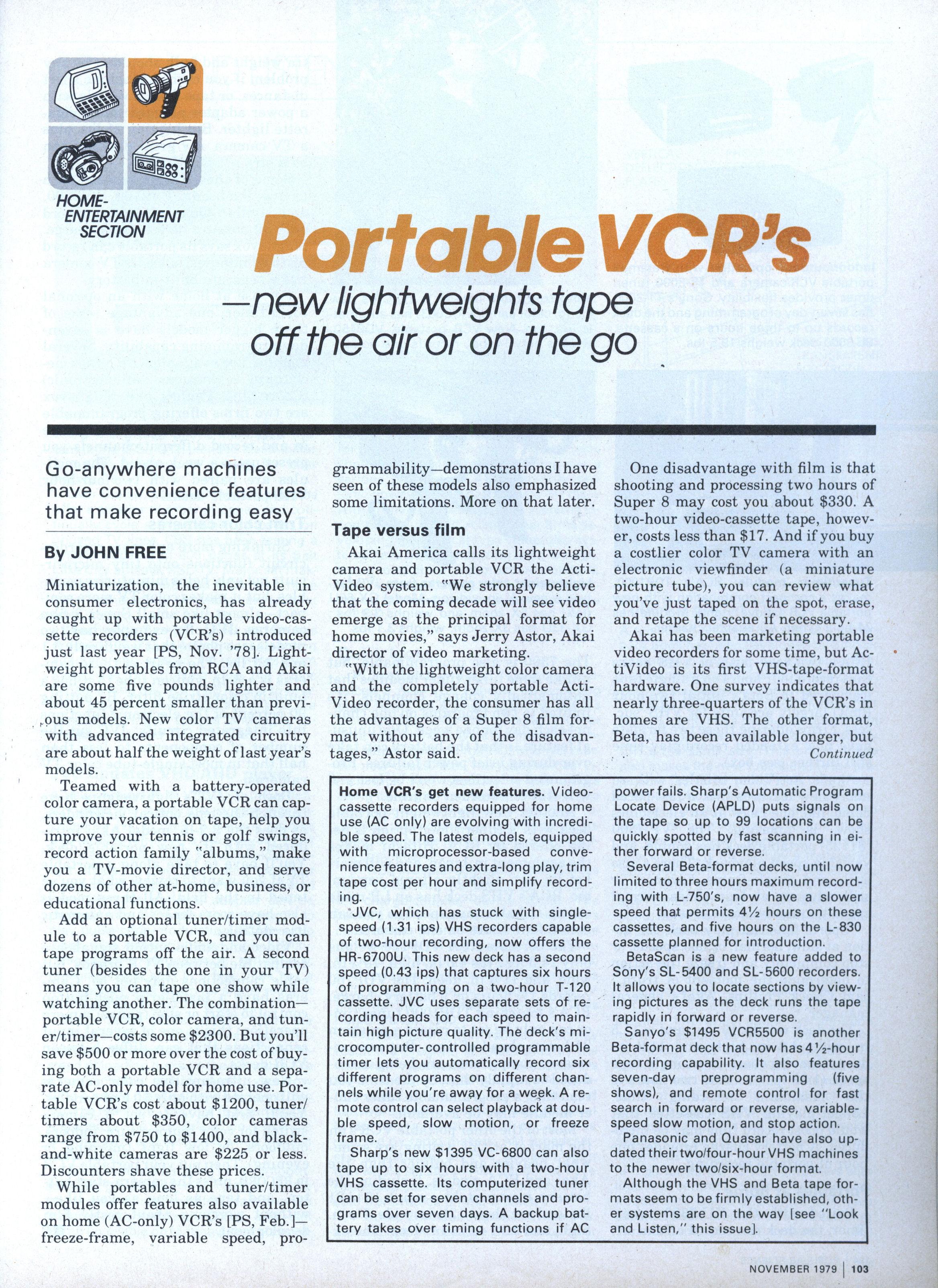 Portable VCR\'s   Modern Mechanix
