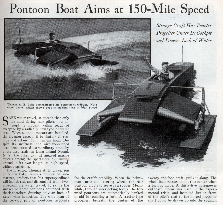 Pontoon Boat Aims At 150 Mile Sd Dec 1932