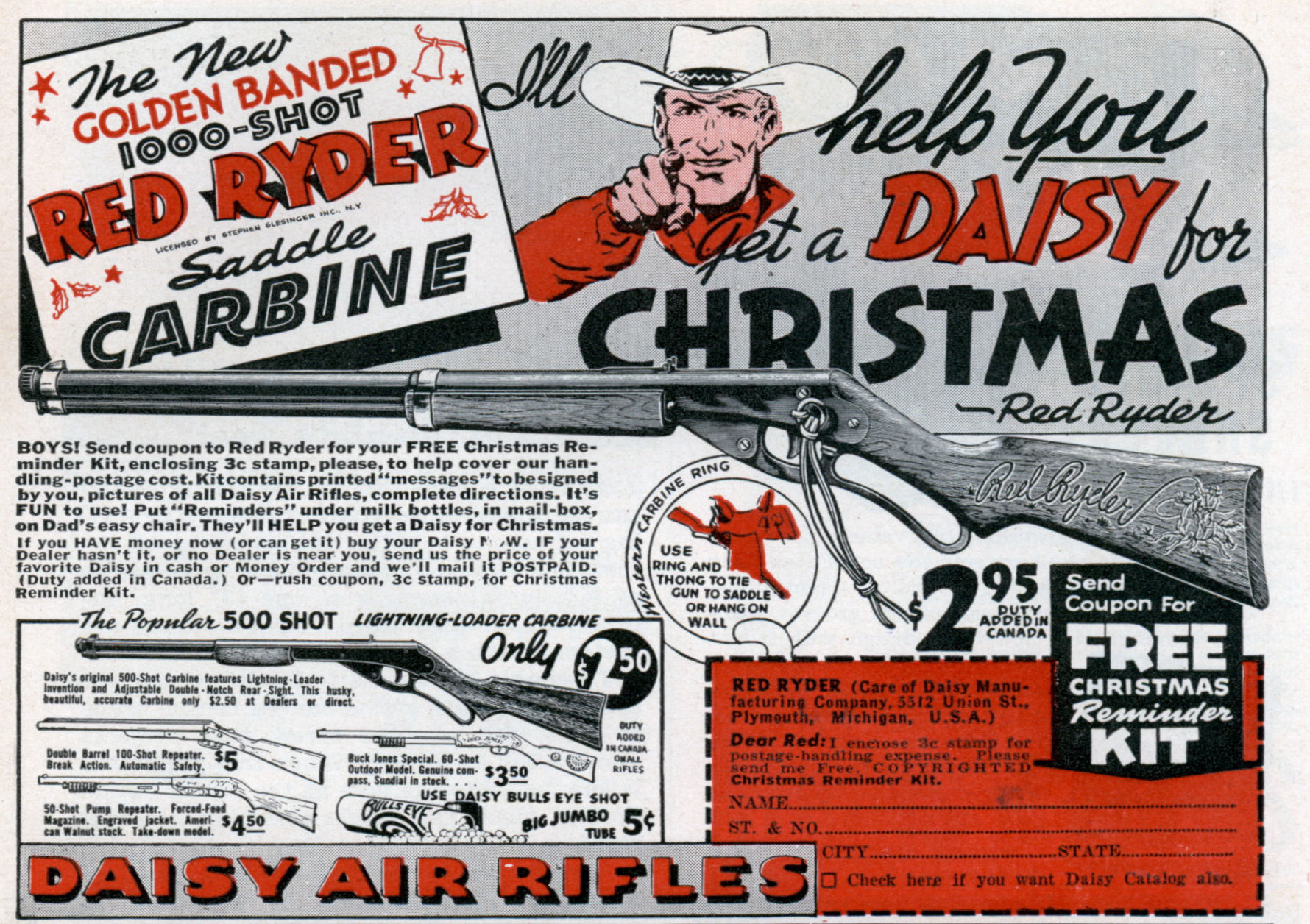 Daisy Air Rifles Red Ryder Golden Banded 1000-Shot Saddle Carbine - December 1940
