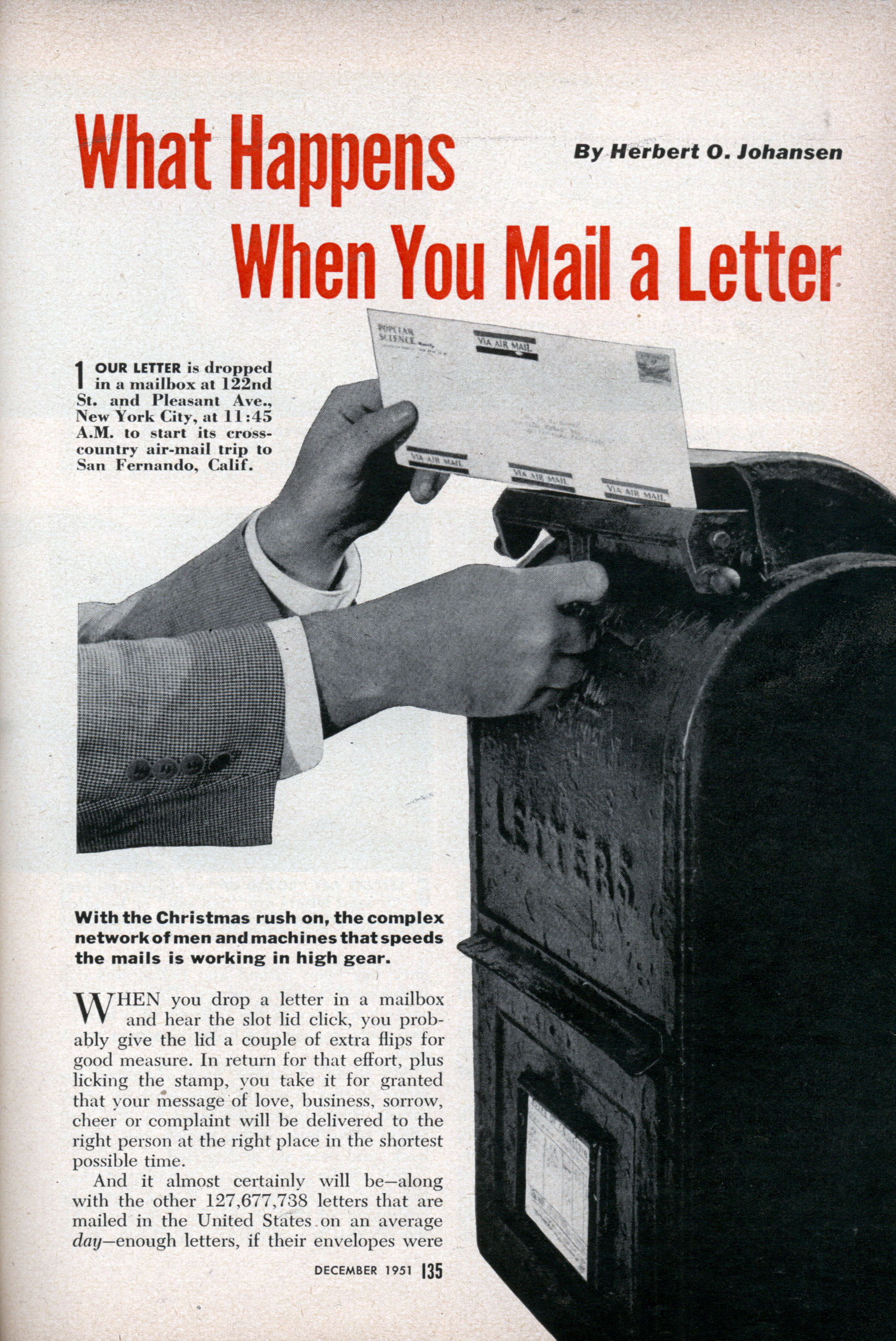 what happens when you mail a letter dec 1951