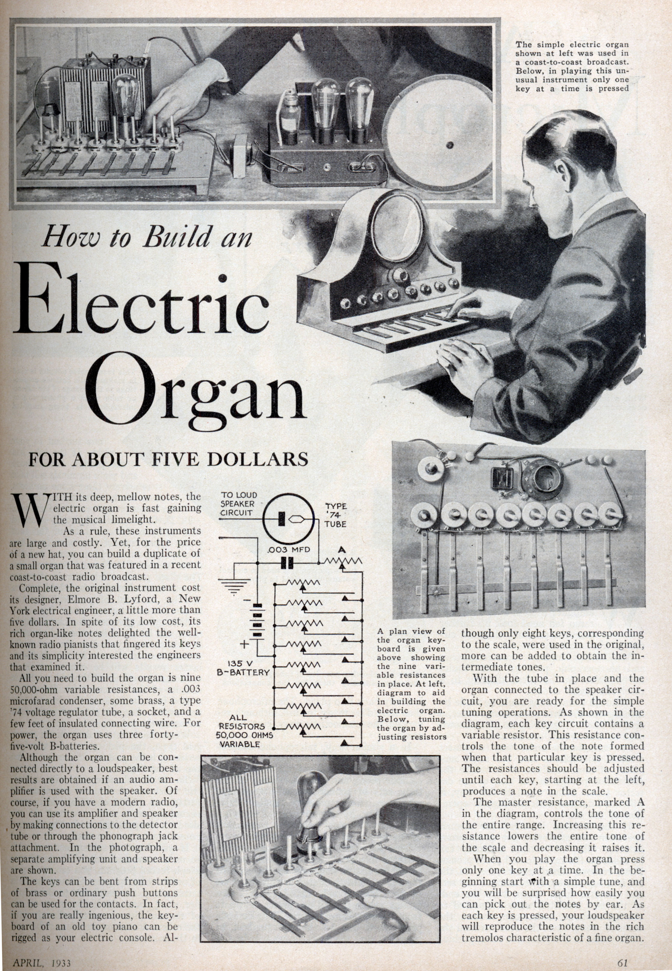 How To Build An Electric Organ For About Five Dollars Modern Mechanix Circuit Diagram Schematic Likewise Toy 555 Timer Apr 1933