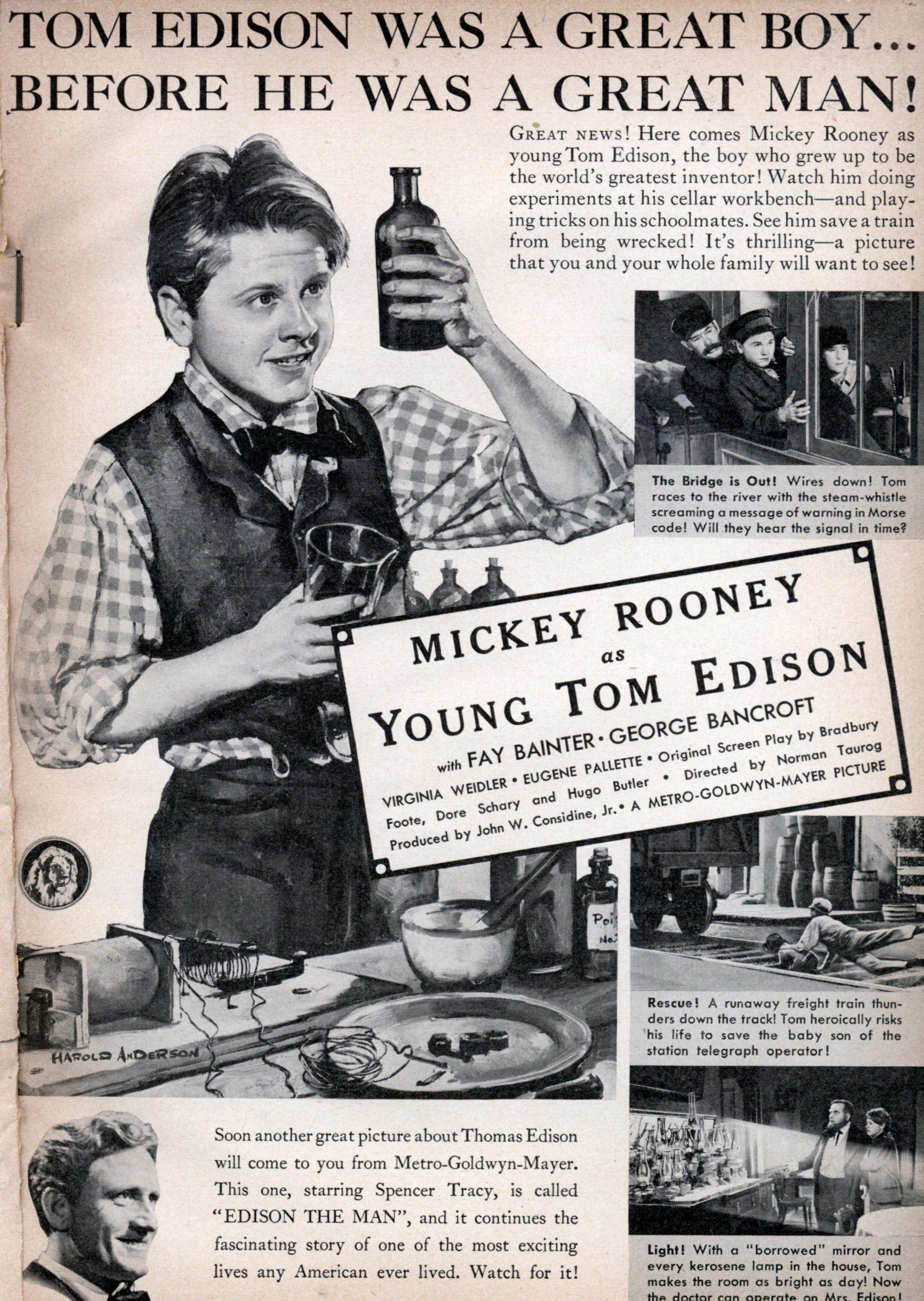 MICKEY ROONEY as Young Tom Edison | Modern Mechanix