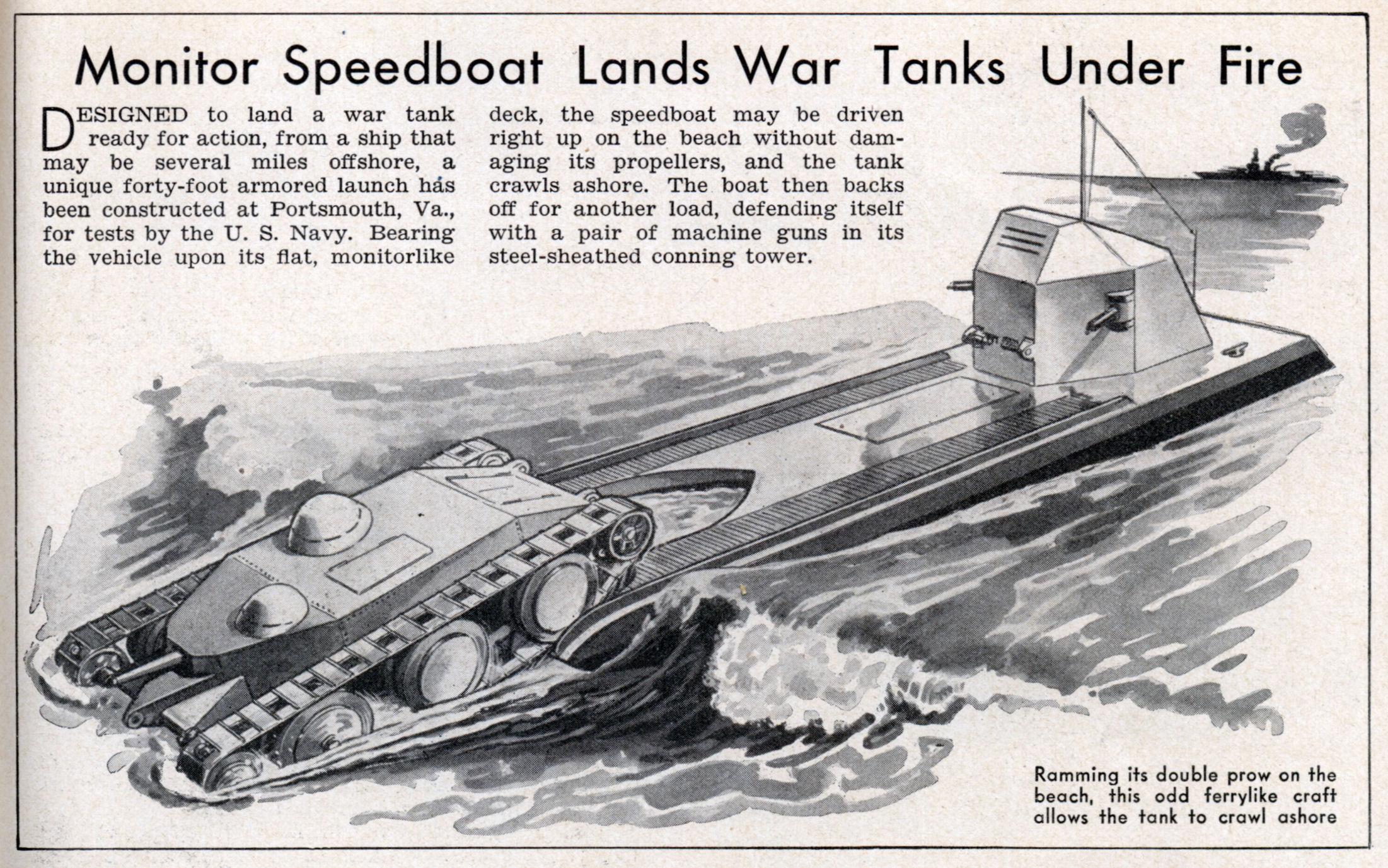 Speedboat lands war tanks under fire designed to land a war tank
