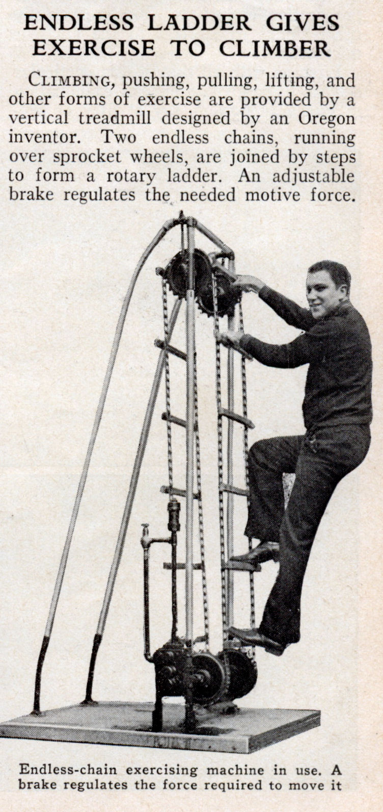 Endless Ladder Gives Exercise To Climber Modern Mechanix