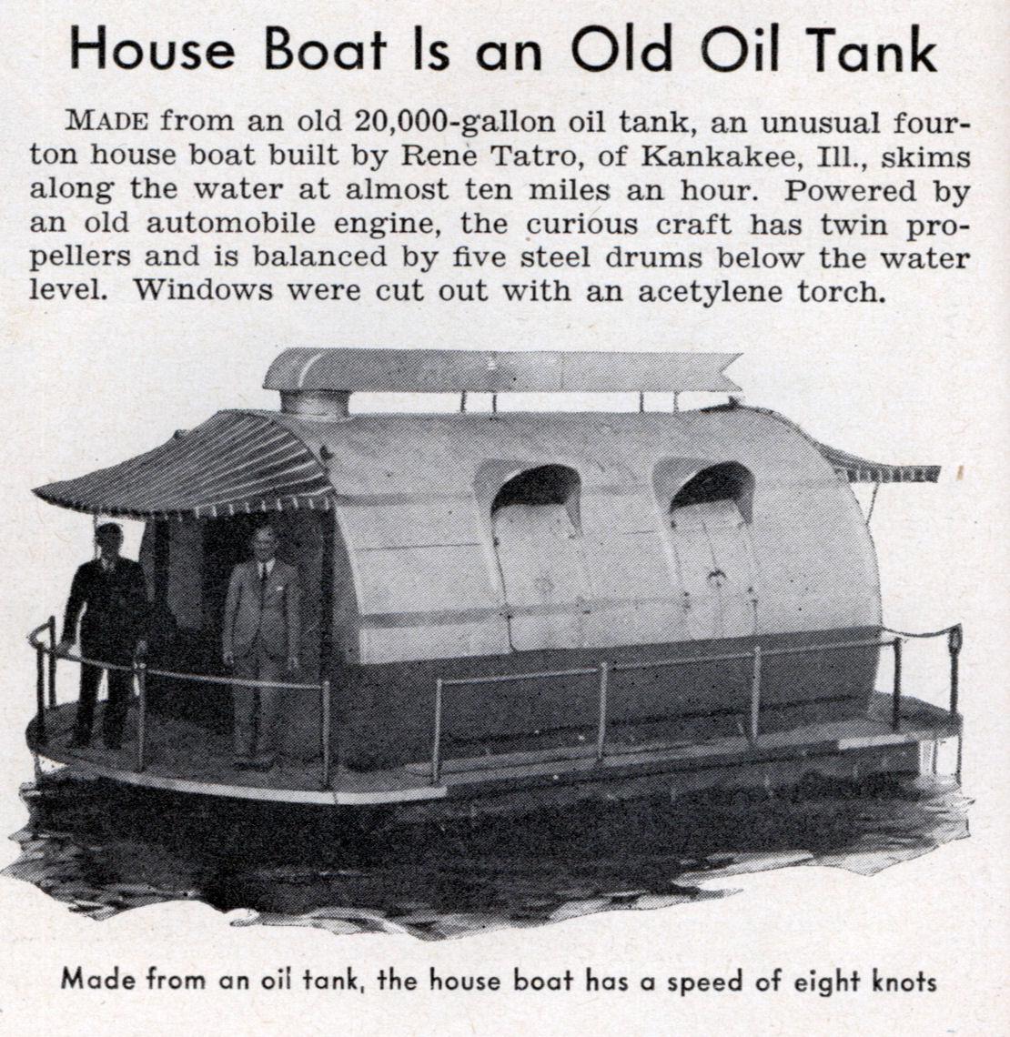 House Boat Is an Old Oil Tank | Modern Mechanix