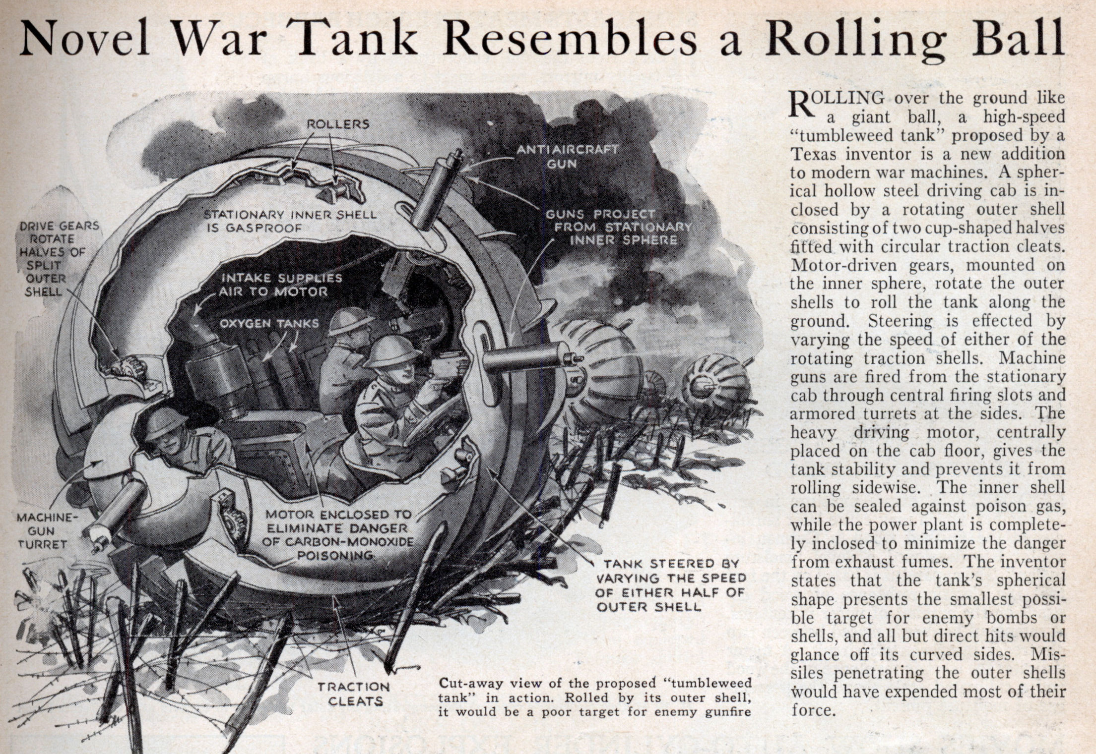 Novel war tank resembles a rolling ball jul 1936