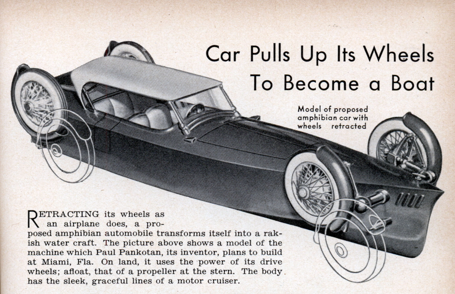 Car Pulls Up Its Wheels To Become a Boat | Modern Mechanix