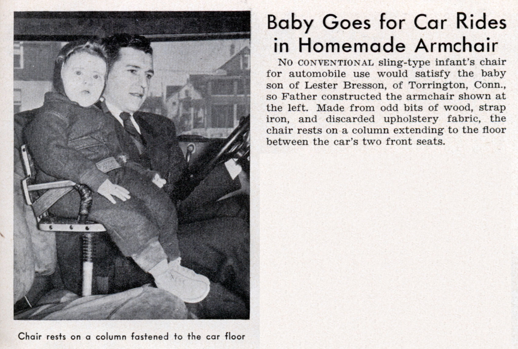 Baby Goes for Car Rides in Homemade Armchair | Modern Mechanix