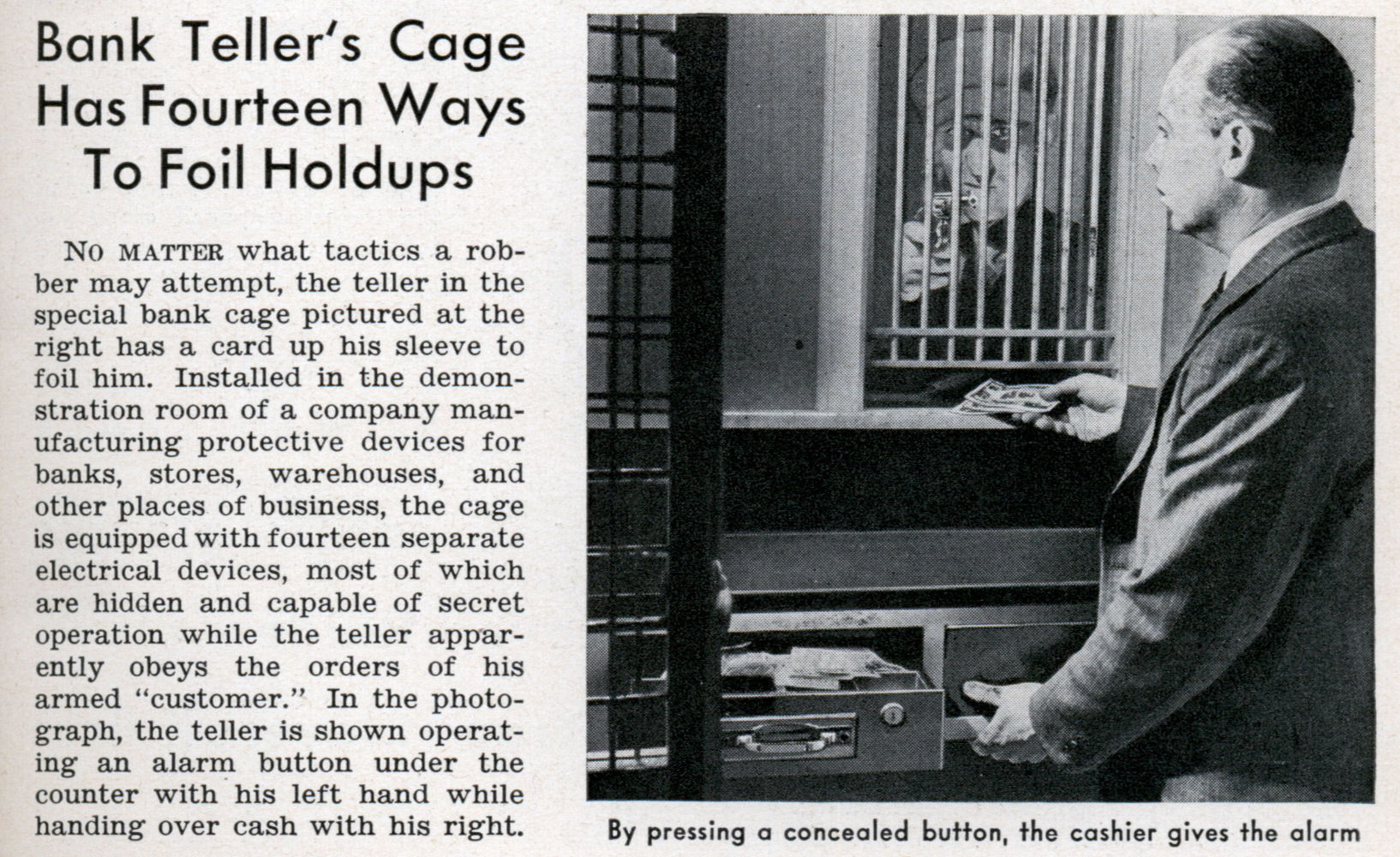 Bank Teller S Cage Has Fourteen Ways To Foil Holdups