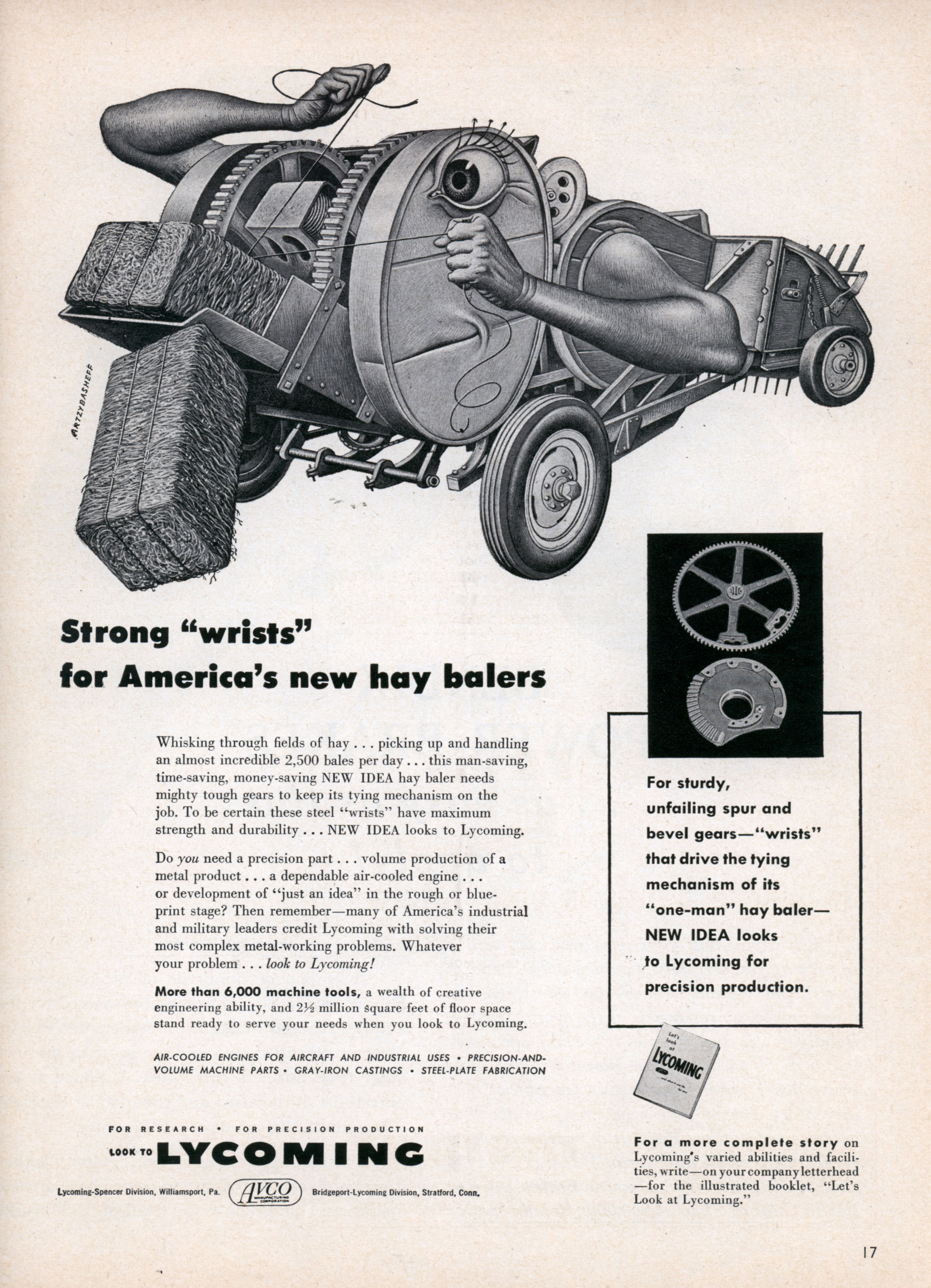 "Ad: Strong ""wrists"" for America's new hay balers (Dec, 1953)"