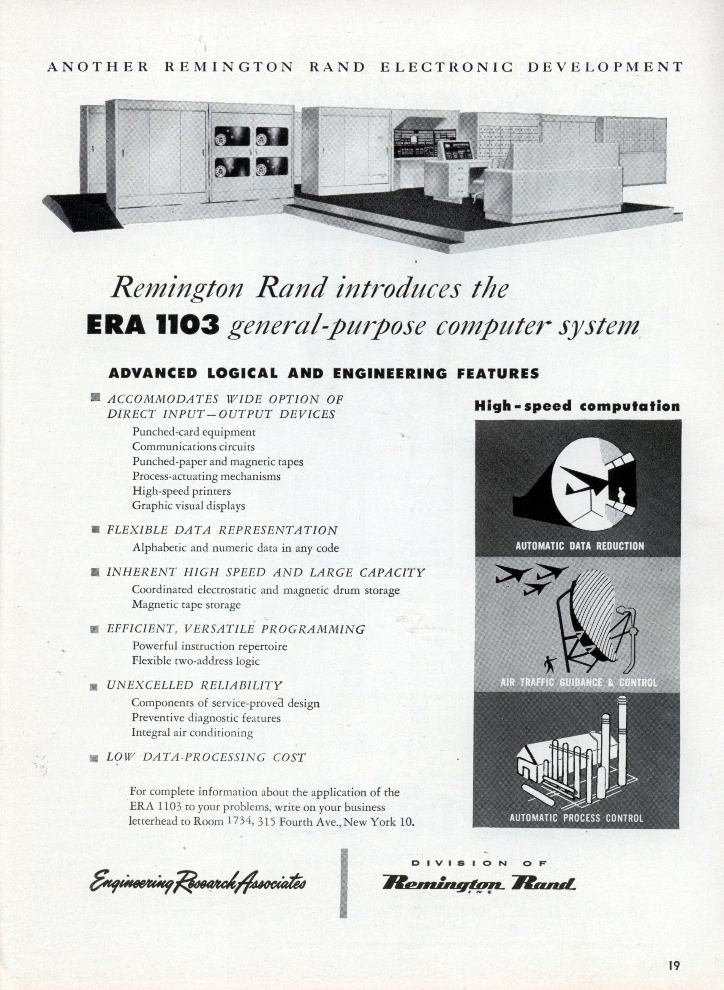 Remington Rand introduces the ERA 1103 general-purpose computer