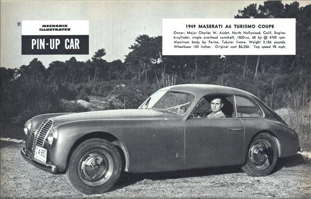 pin up car 1949 maserati a6 turismo coupe modern mechanix. Black Bedroom Furniture Sets. Home Design Ideas