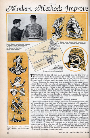Modern Methods Improve Ancient Tattooing Art. TATTOOING is one of the most
