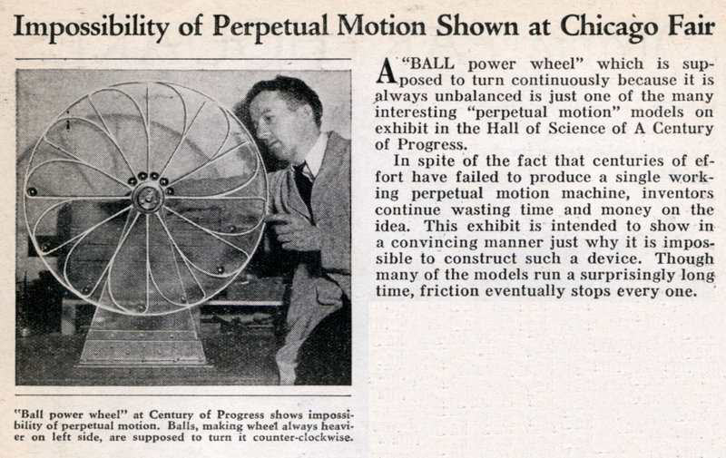 Impossibility of Perpetual Motion Shown at Chicago Fair