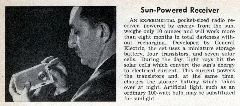 Un radio con energía solar de 1956