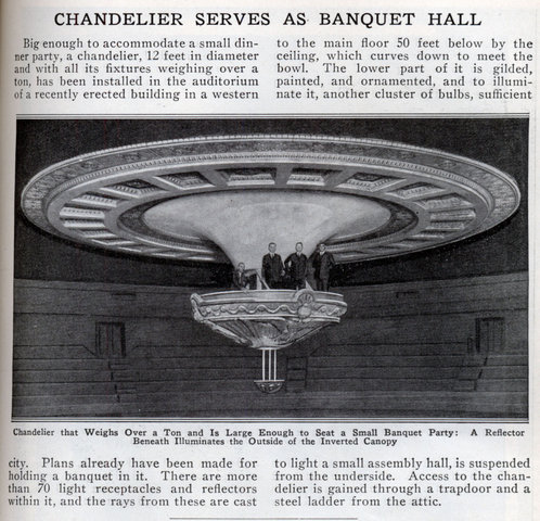 CHANDELIER SERVES AS BANQUET HALL